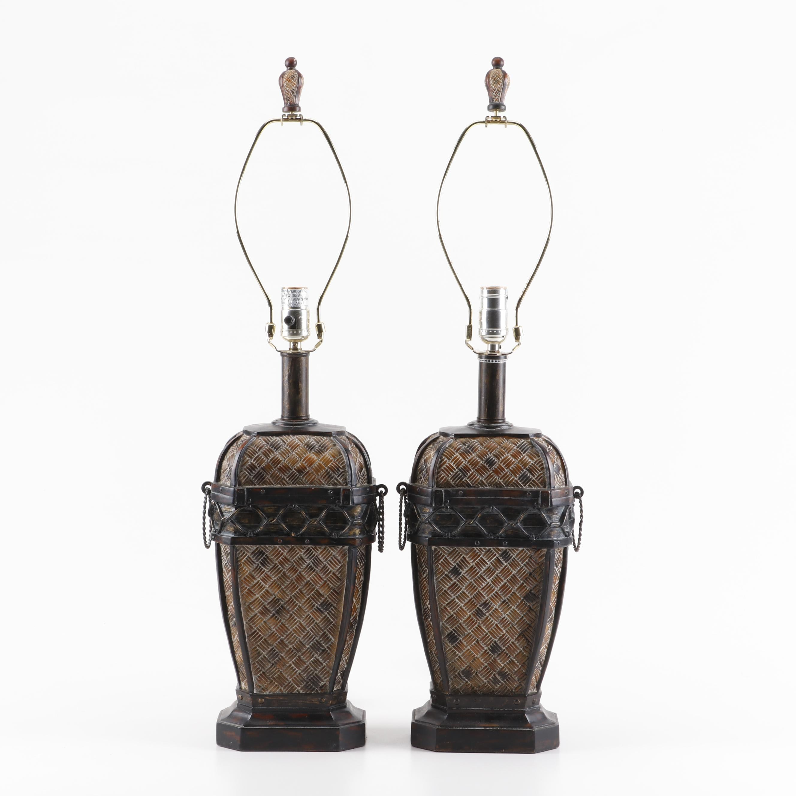 Basket Weave Style Resin Table Lamps, Contemporary