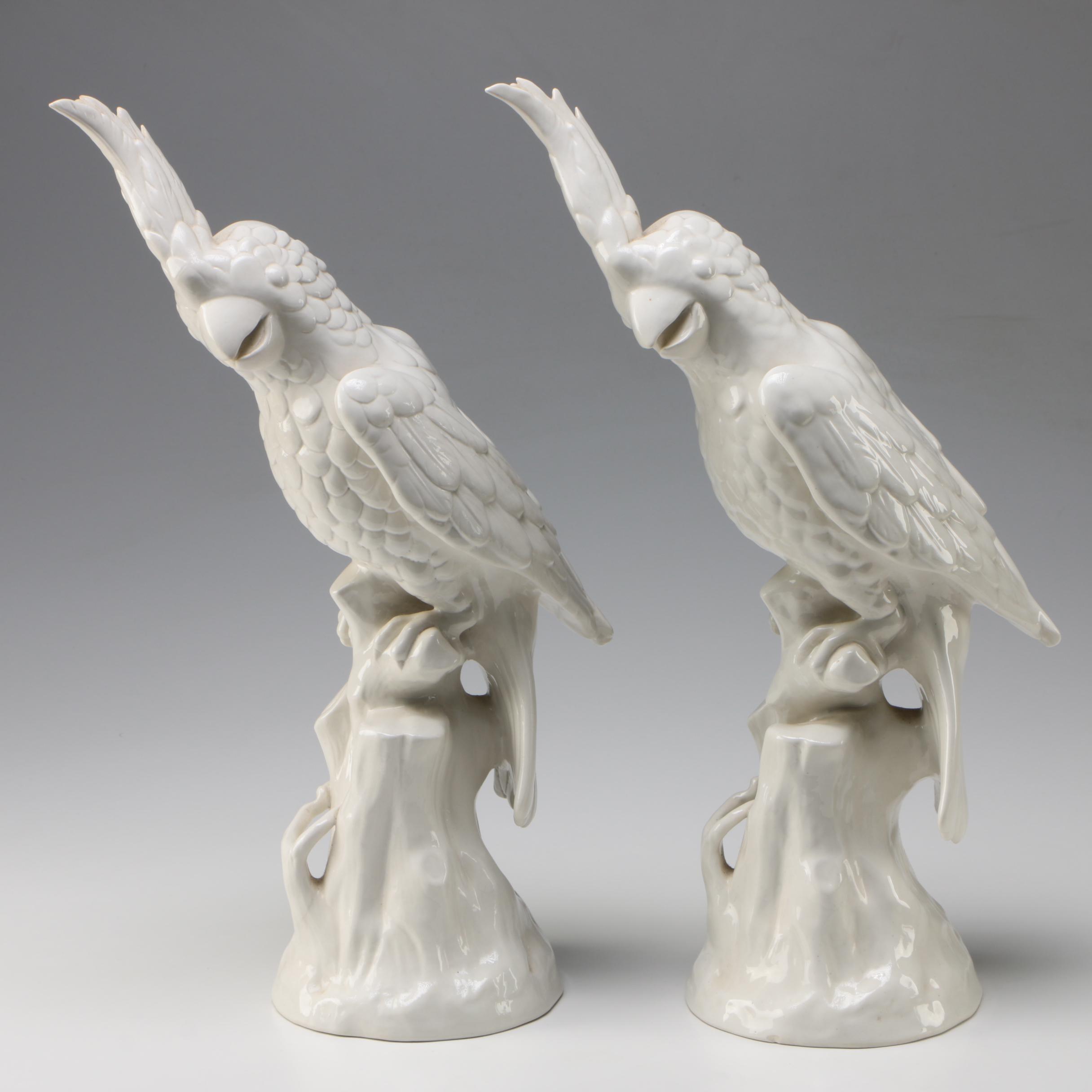 Pair of Mottahedeh Italian Ceramic Parrot Statuettes, Late 20th Century