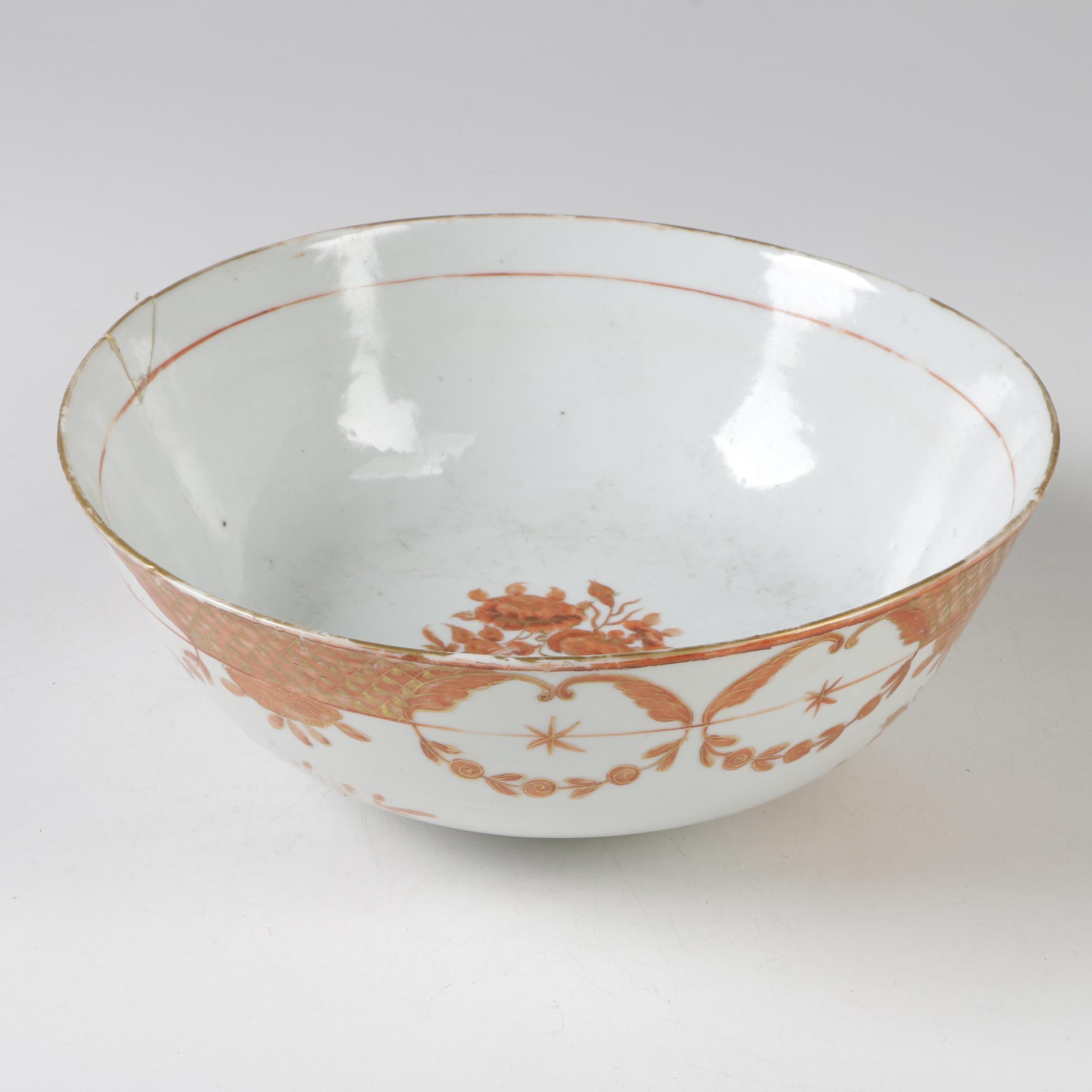 Chinese Export Orange Fitzhugh Hand-Painted Porcelain Bowl, Antique
