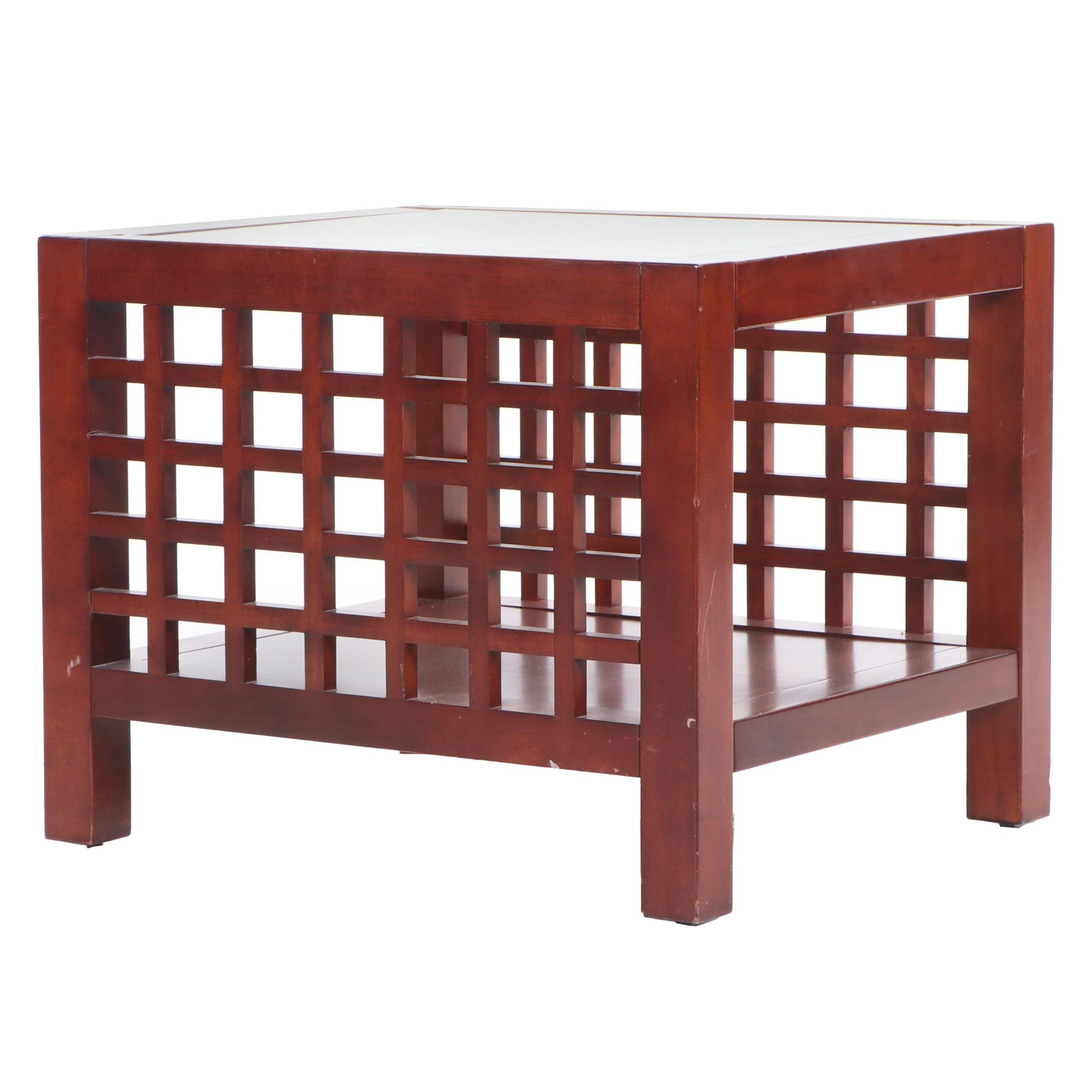 Contemporary Anglo-Chinese Style Glass Top Wood End Table