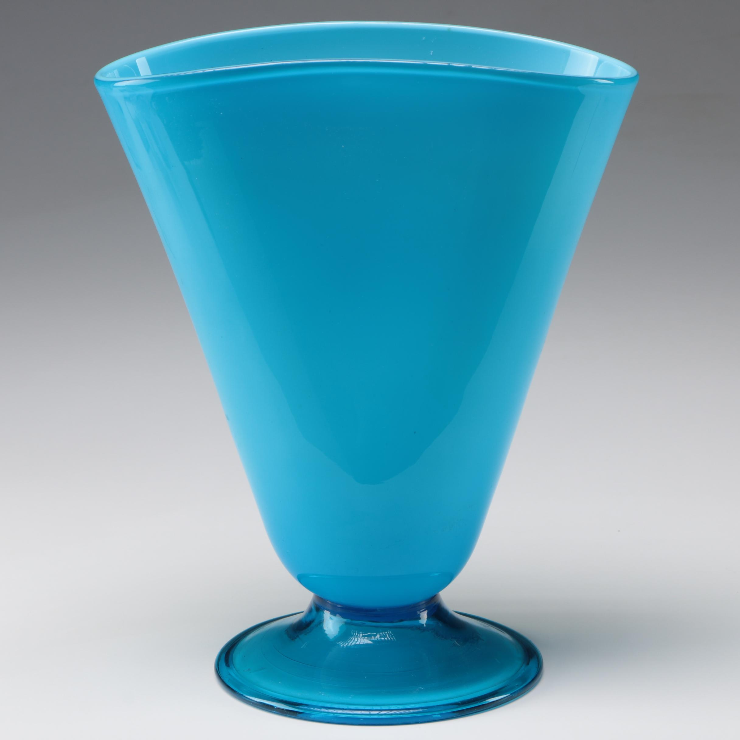 Aqua Blue Hand Blown Art Glass Vase