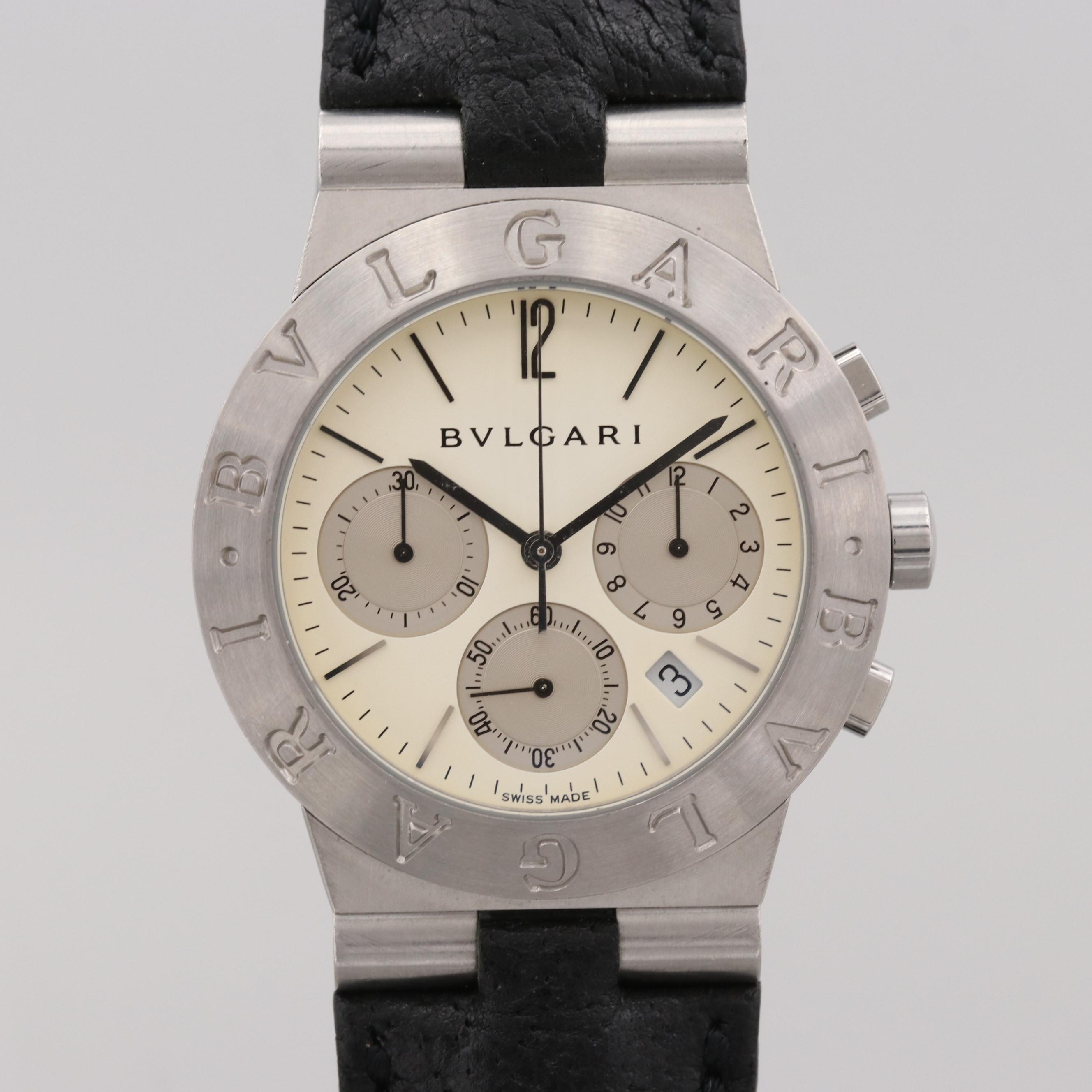 Bulgari Diagono Stainless Steel Quartz Chronograph Wristwatch