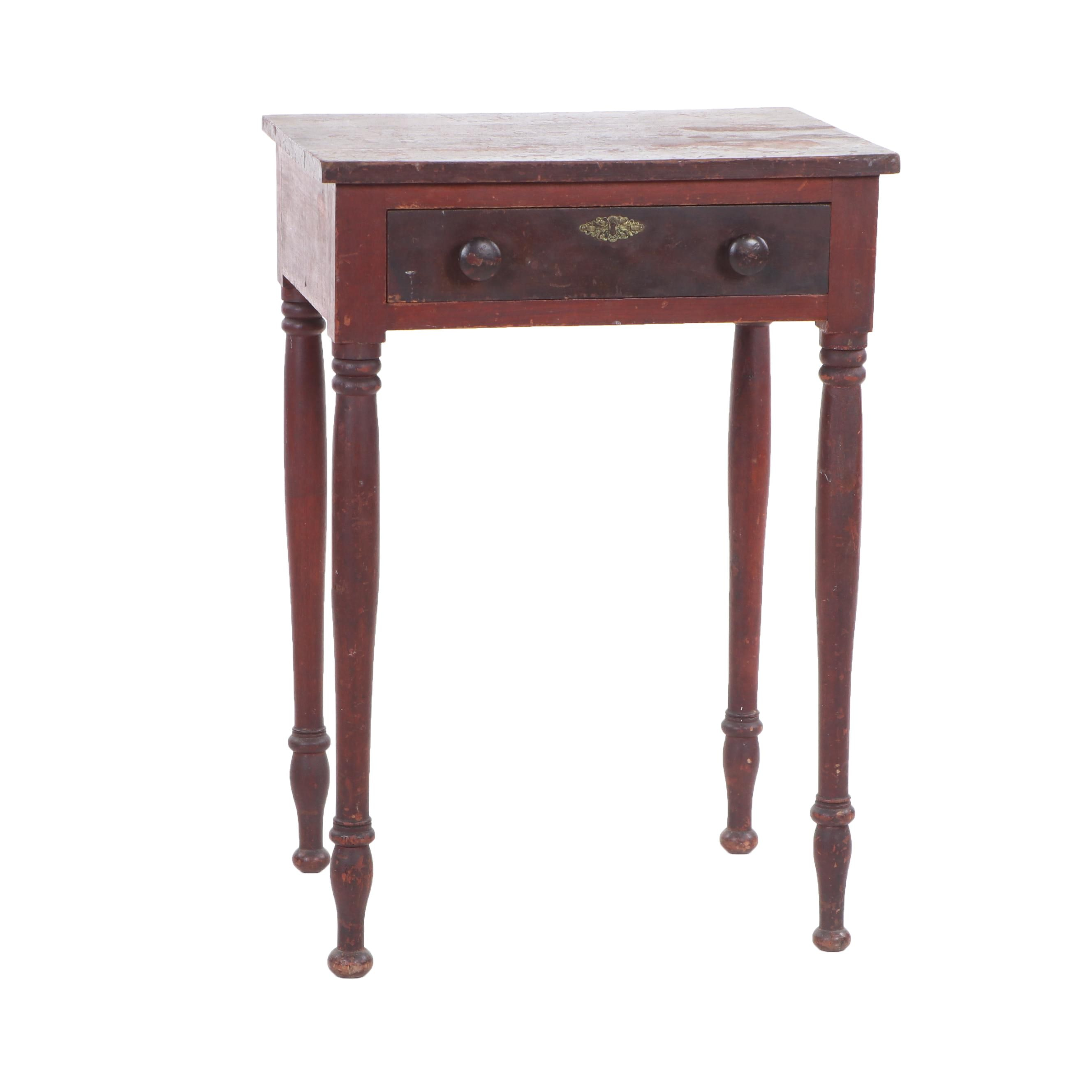 Late Federal Painted Wooden Single-Drawer Table, Mid 19th Century