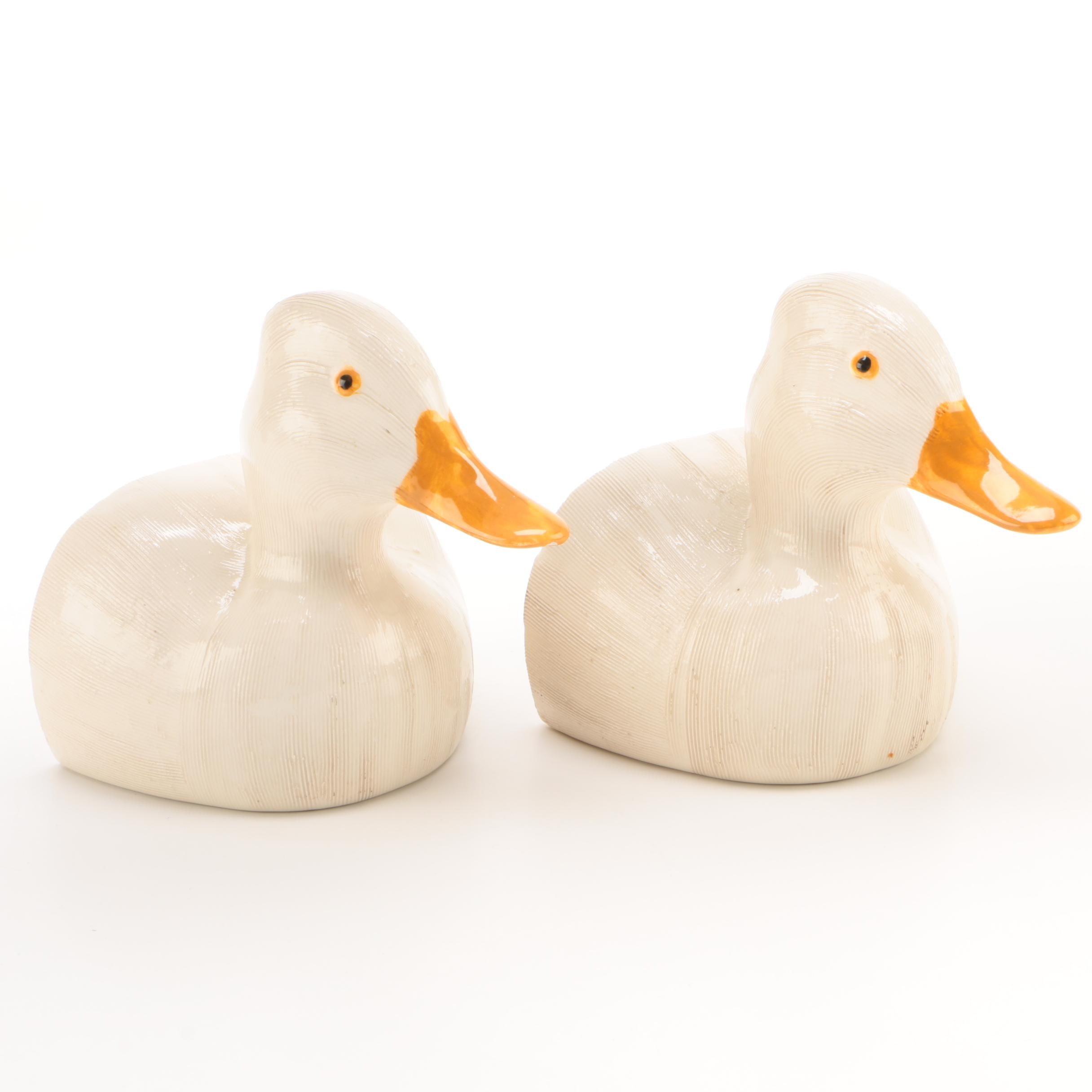 Plaster Duck Form Bookends