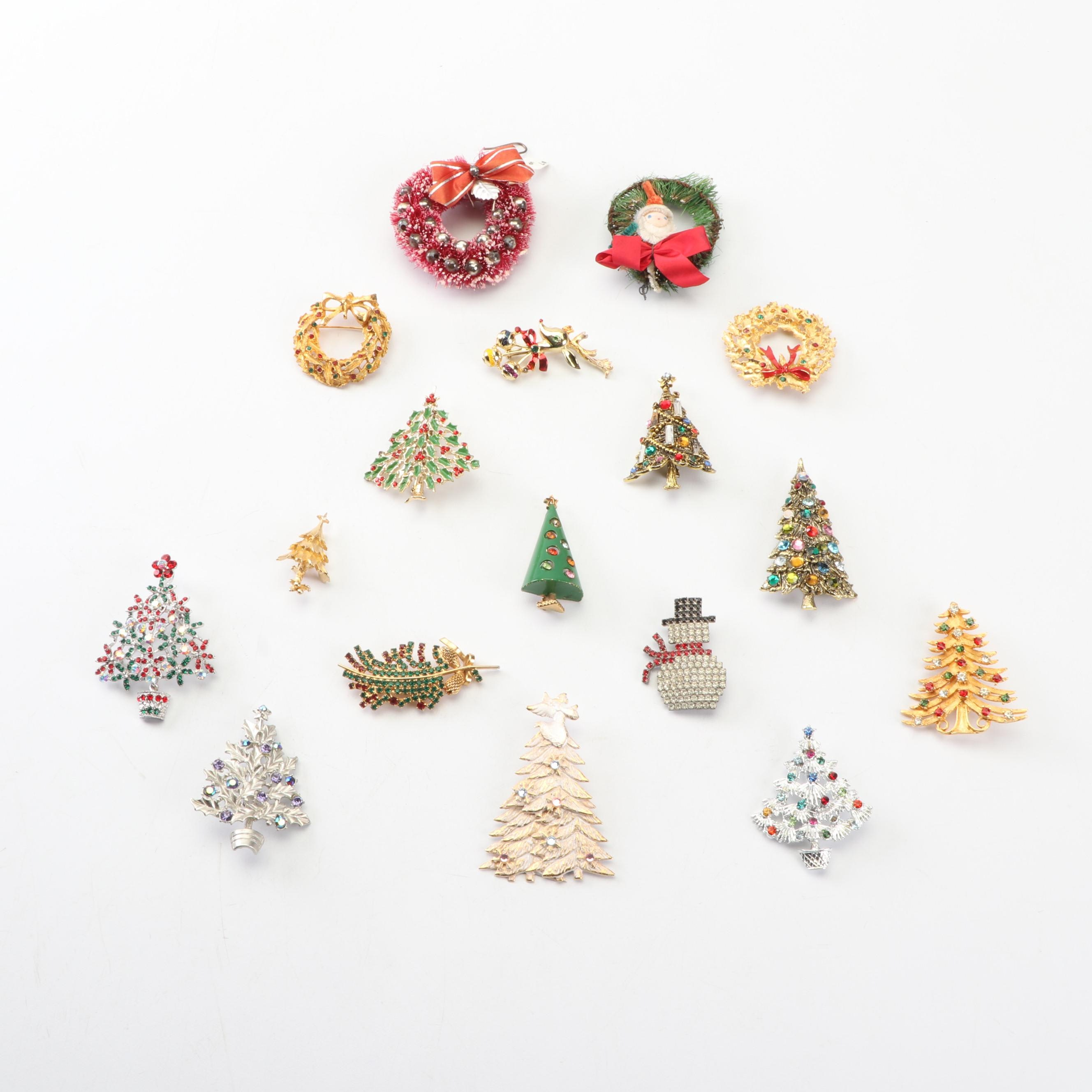 Enameled and Rhinestone Christmas Brooches Featuring Hollycraft
