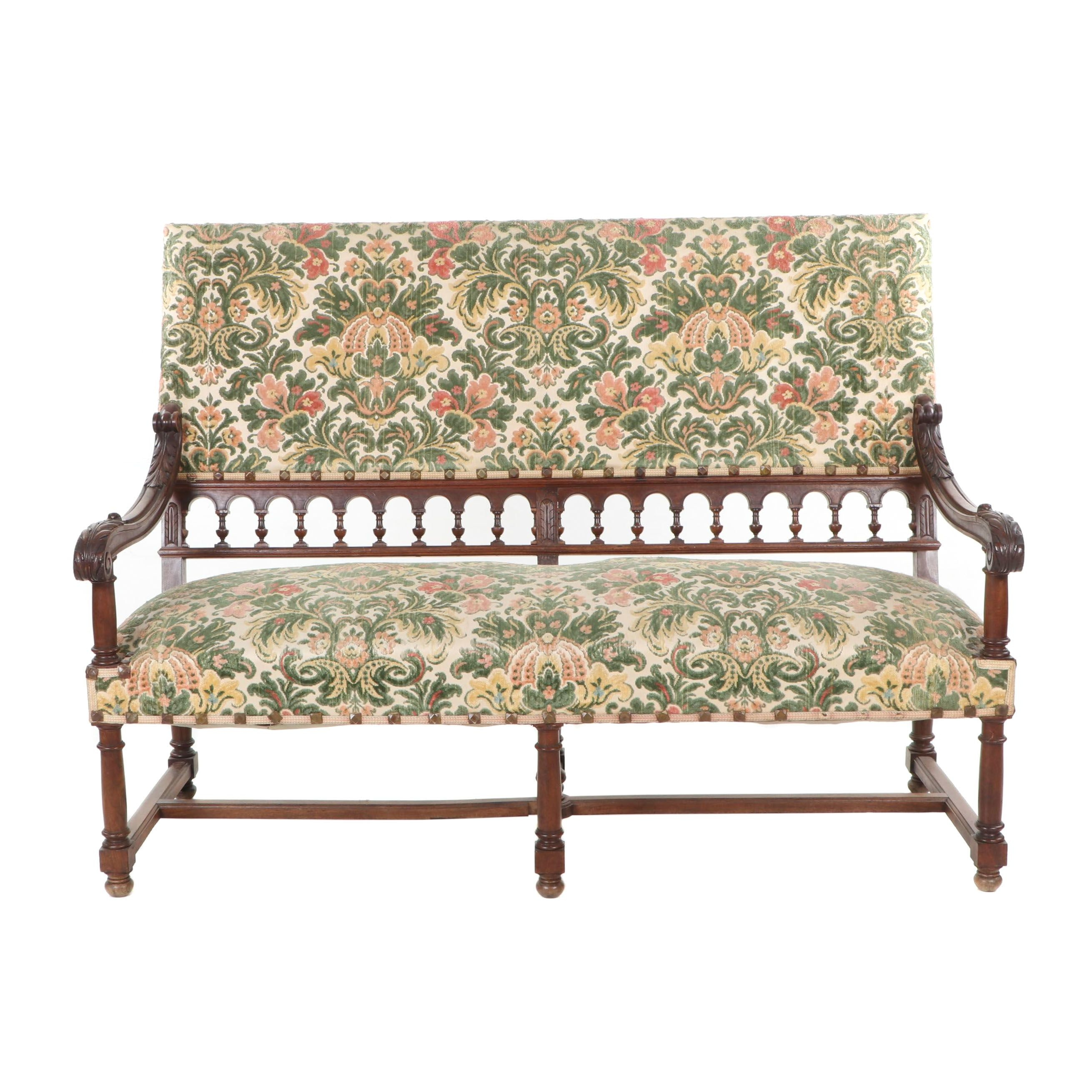 Mahogany Upholstered High-Back Settee, Mid to Late 19th Century