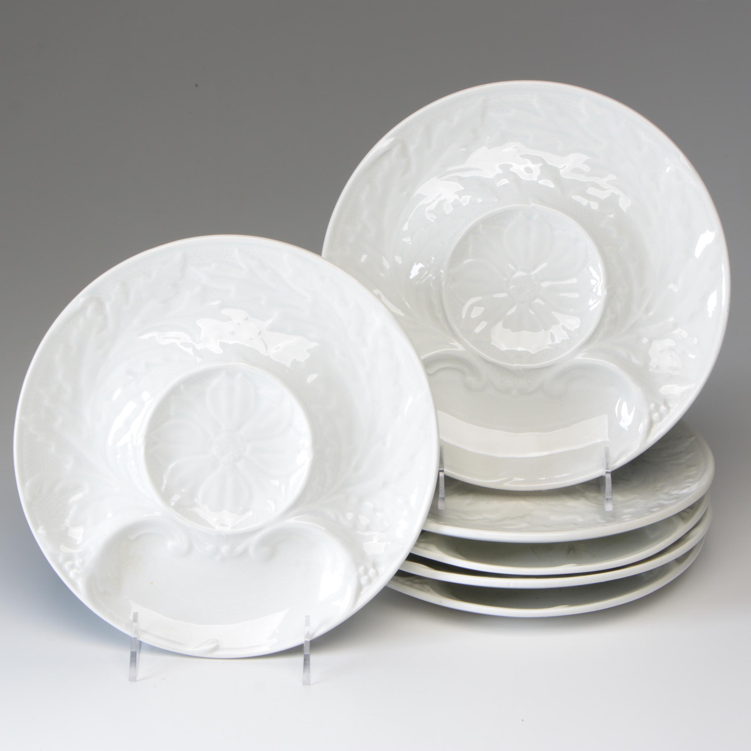 Gien French Creamware Artichoke Plates, 1960-1971