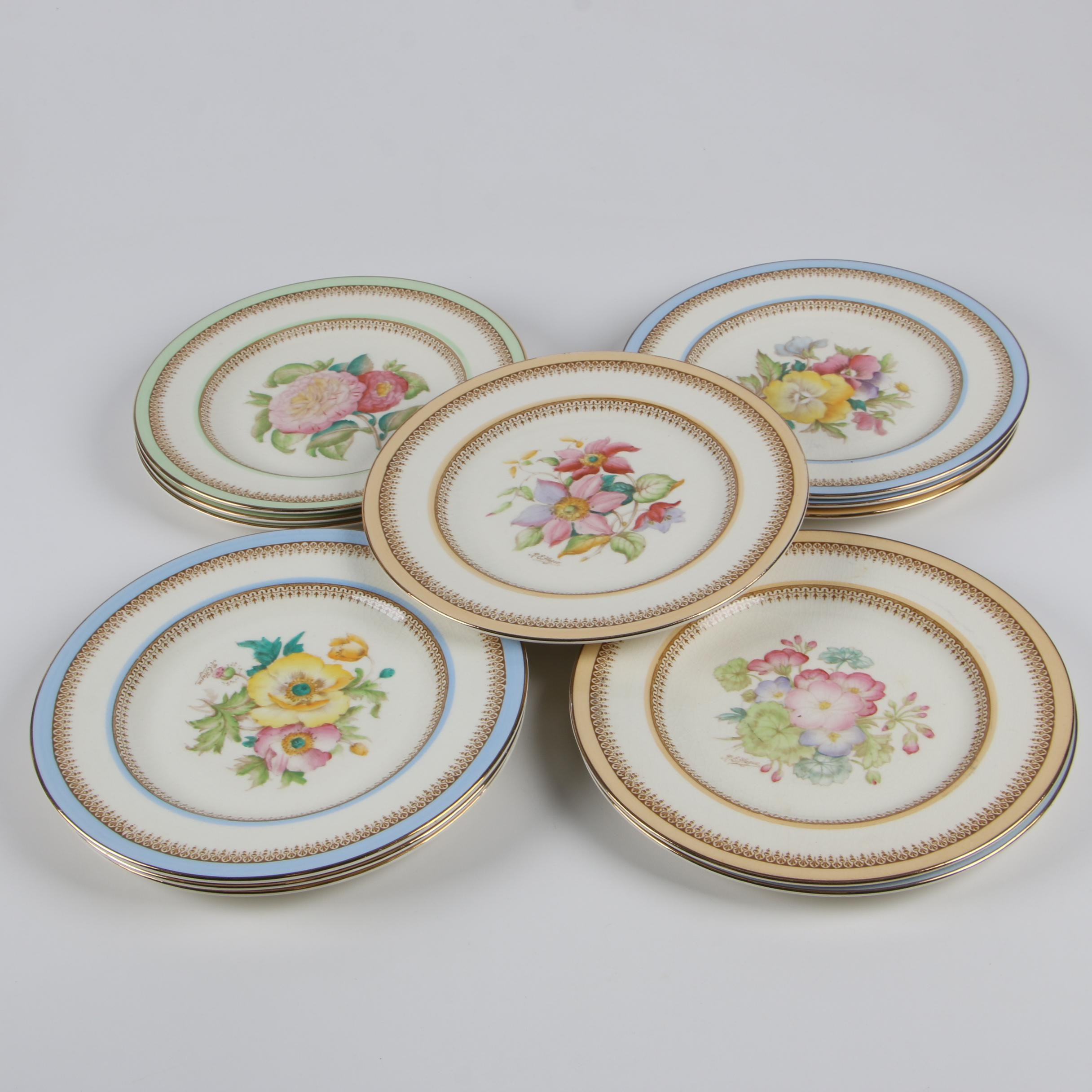 Crown Ducal Floral Earthenware Luncheon Plates, Early 20th Century