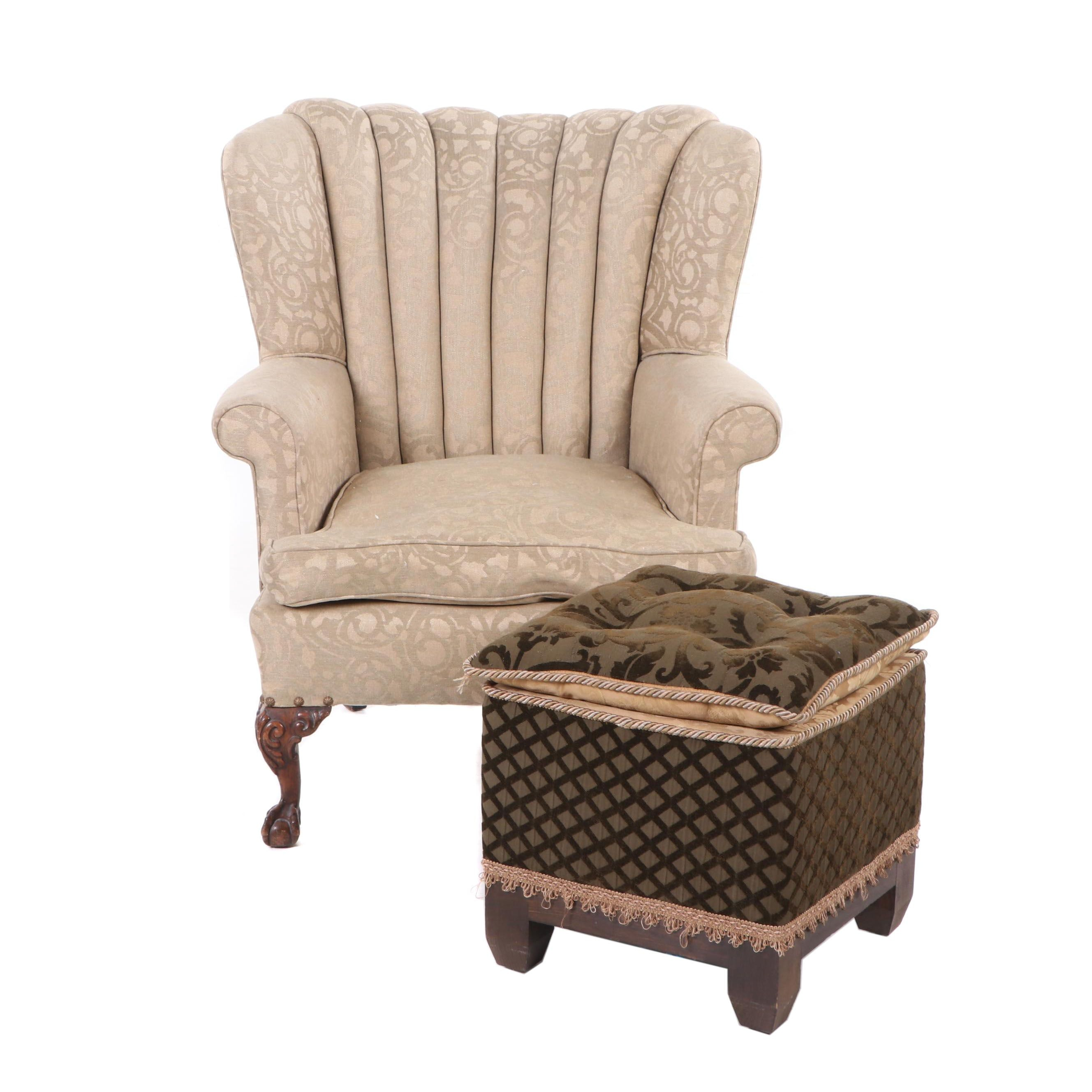 Upholstered Wingback Armchair with Ottoman, Mid 20th Century