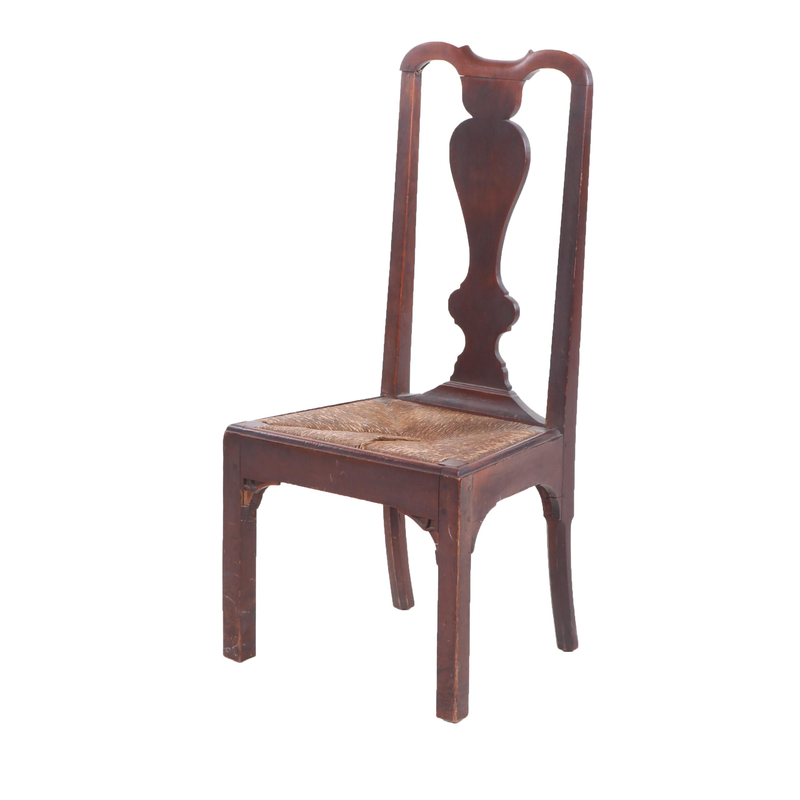 Queen Anne Connecticut Cherry Dining Chair with Rush Seat, Mid-18th Century