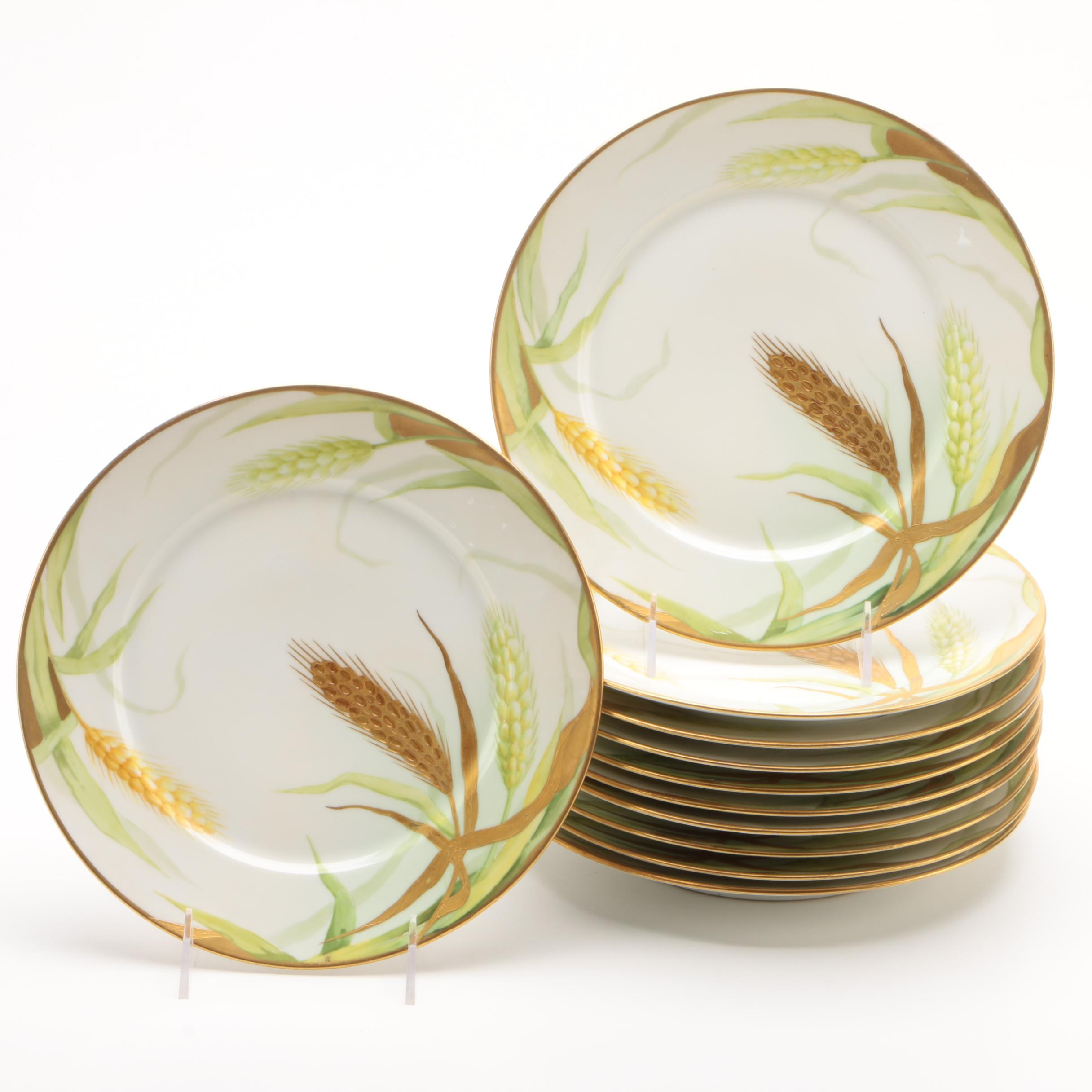 Old Abbey of Limoges Hand-Painted Porcelain Plates, Early 20th Century