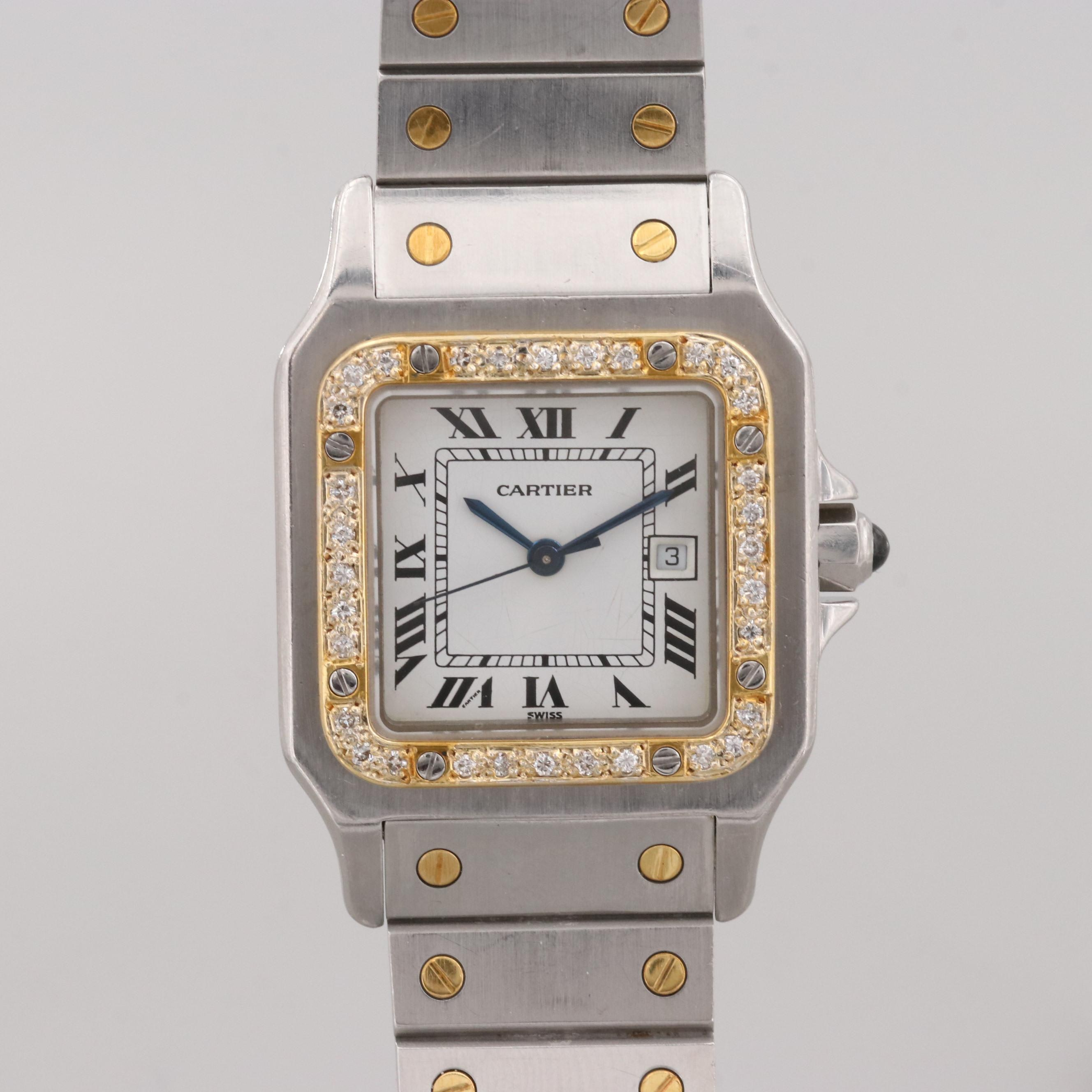 Cartier-Santos de Cartier Automatic Wristwatch With Custom Diamond Bezel