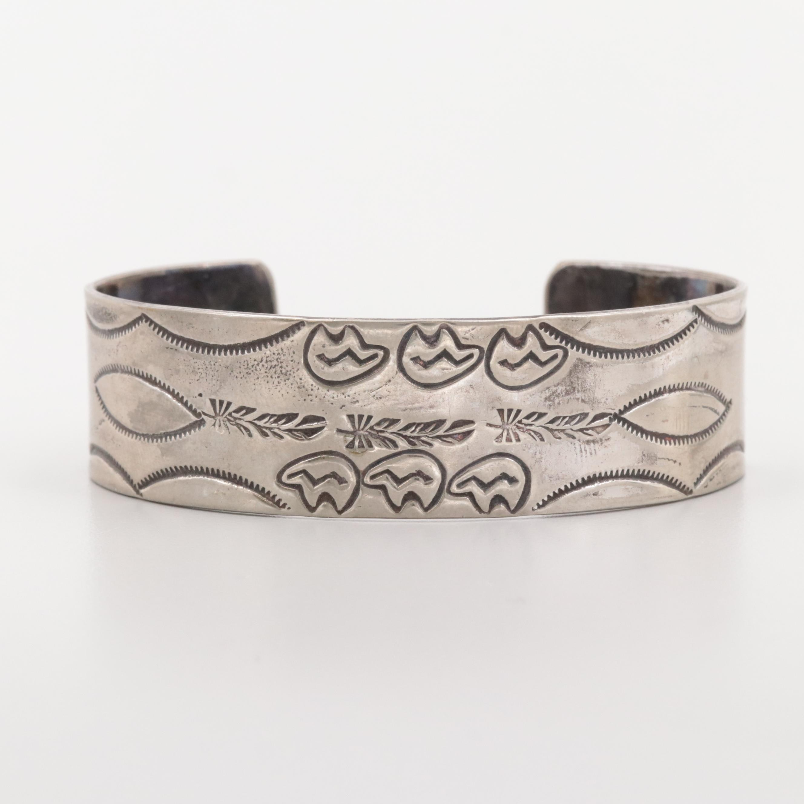 Southwestern Style Silver Tone Cuff Bracelet