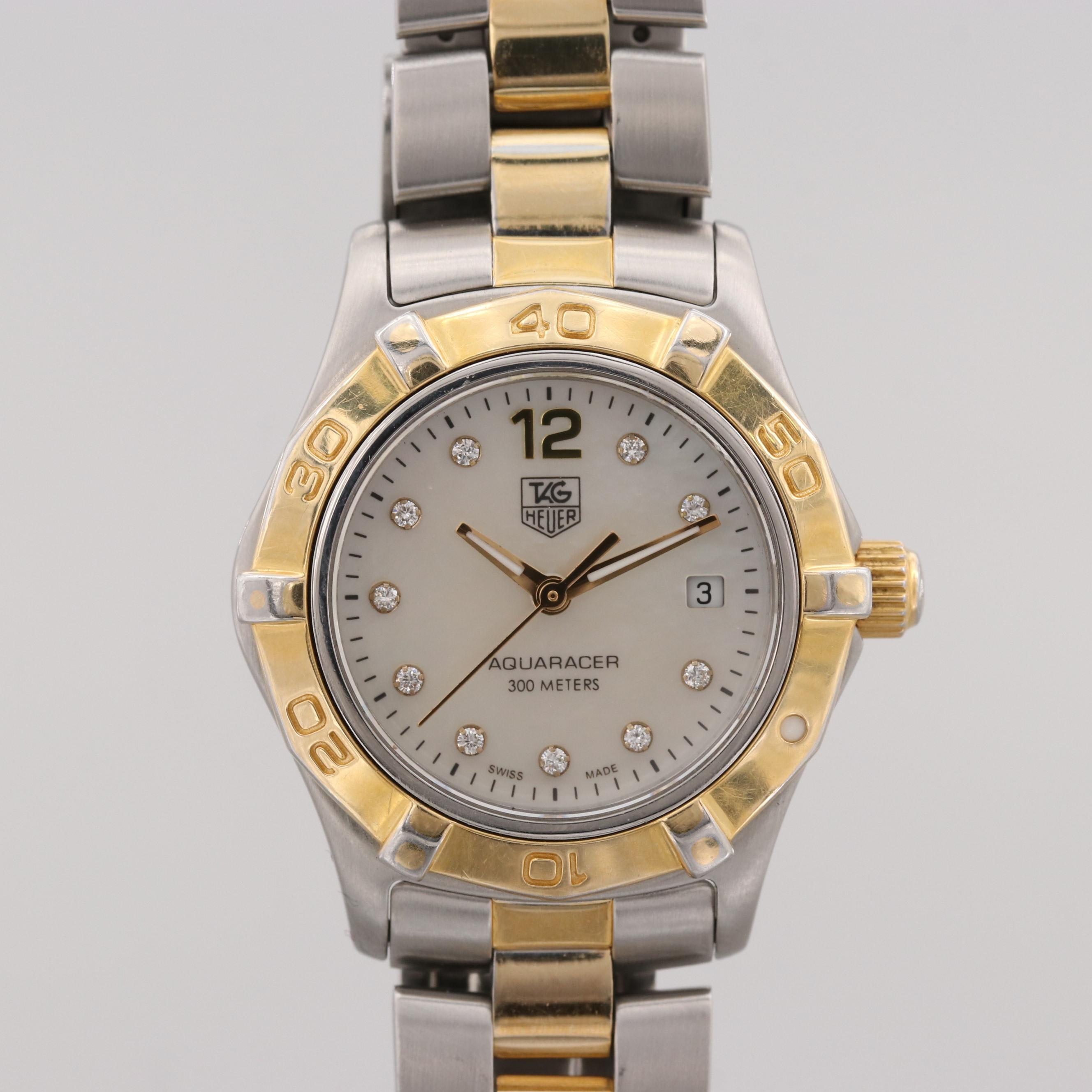 TAG Heuer Aquaracer Two-Tone Wristwatch With Diamond and Mother of Pearl Dial