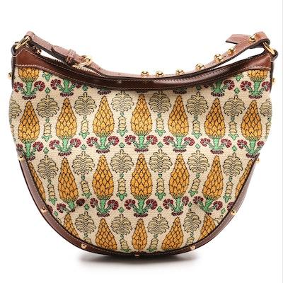 3d27ac6b513c Gucci Pineapple Print Canvas and Leather Boho Bag