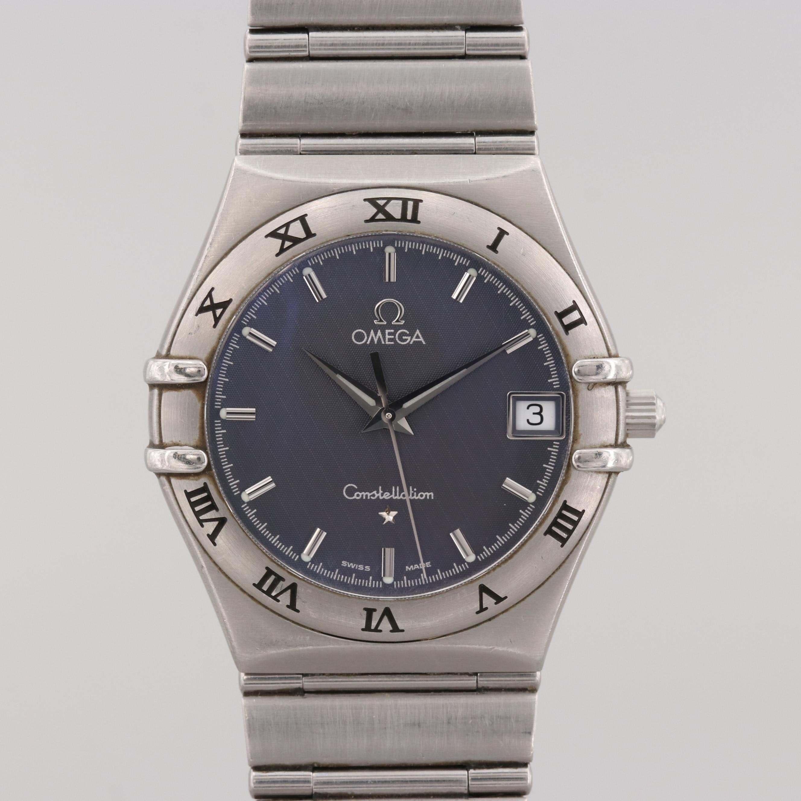 Omega Constellation Stainless Steel Quartz Wristwatch With Date Window
