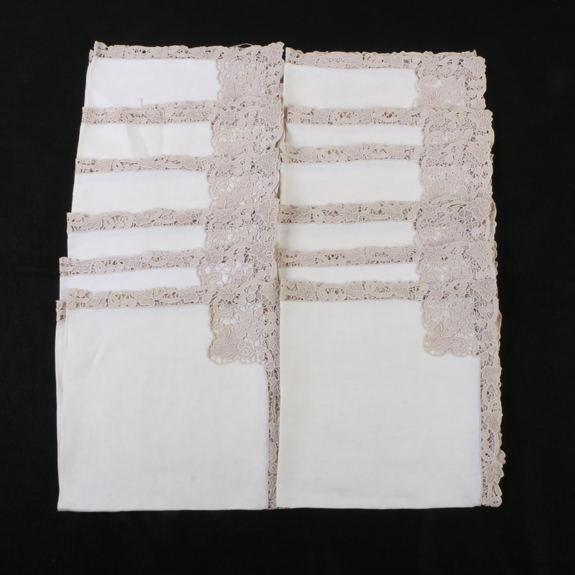 Ivory Linen Napkins with Beige Lace Trim