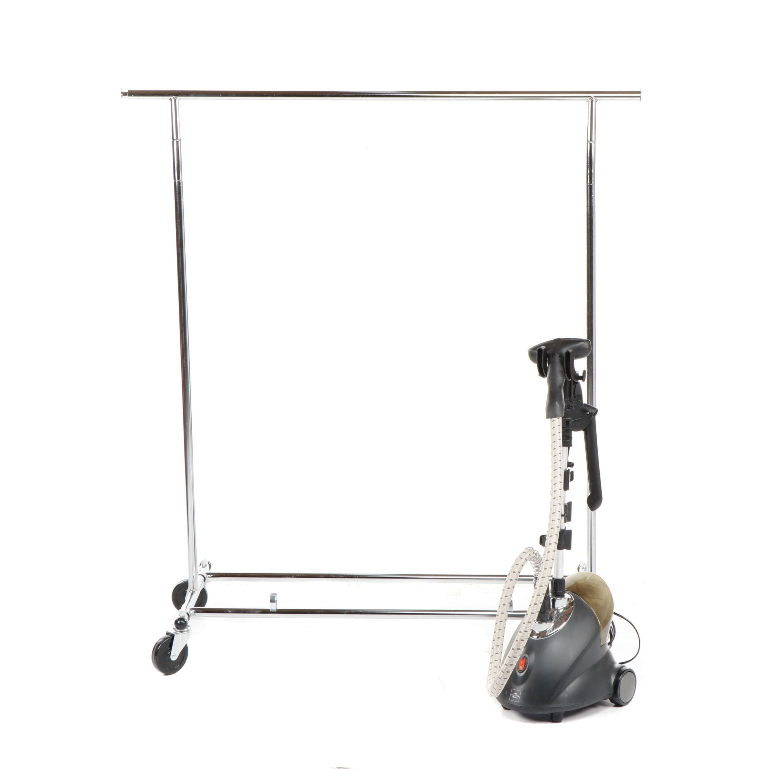 The Sharper Image Garment Steamer and Rolling Clothing Rack