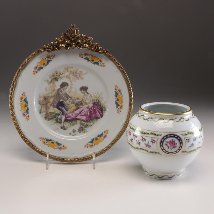 Haviland Limoges Porcelain Vase and Leipold Romer Wall Hanging Plate