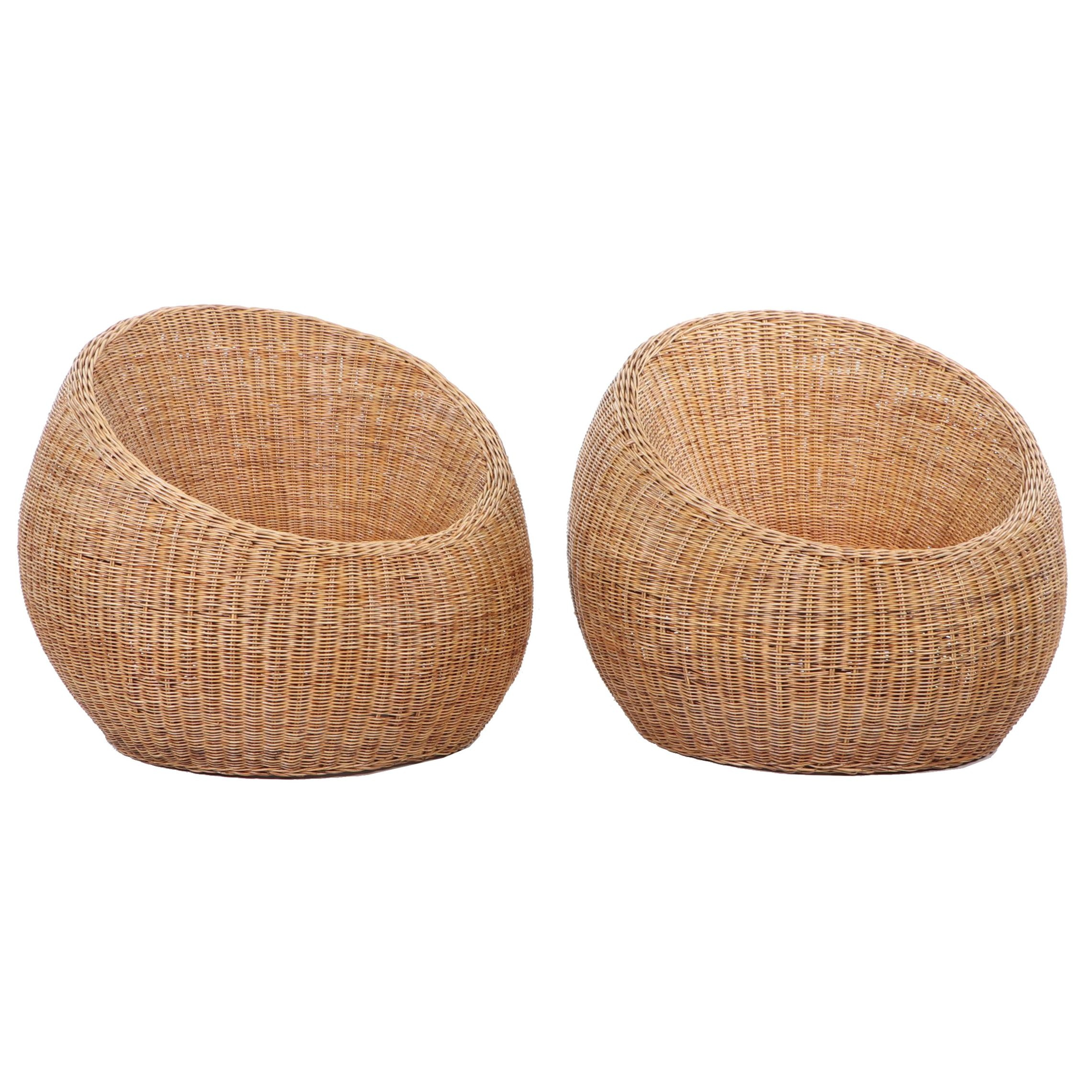 Pair of Contemporary Wicker and Rattan Bucket Chairs