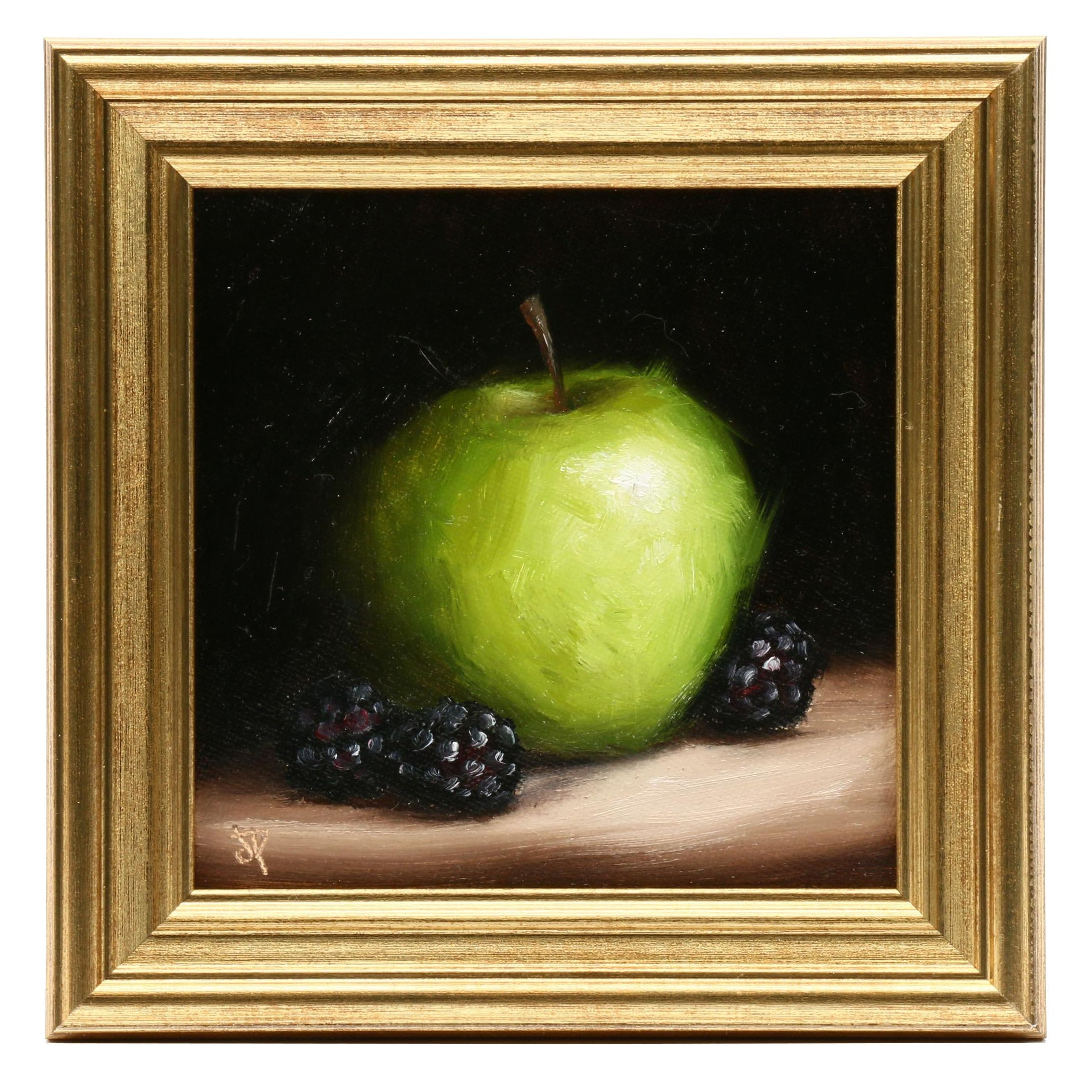 "Jane Palmer Oil Painting ""Apple with Blackberries"""