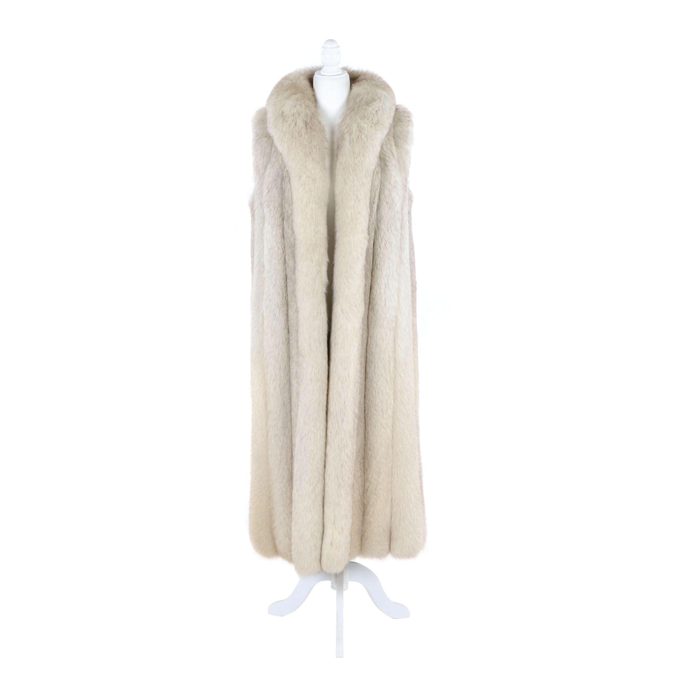 Women's Blue Fox Fur Longline Vest with Tuxedo Collar from William H. Harris