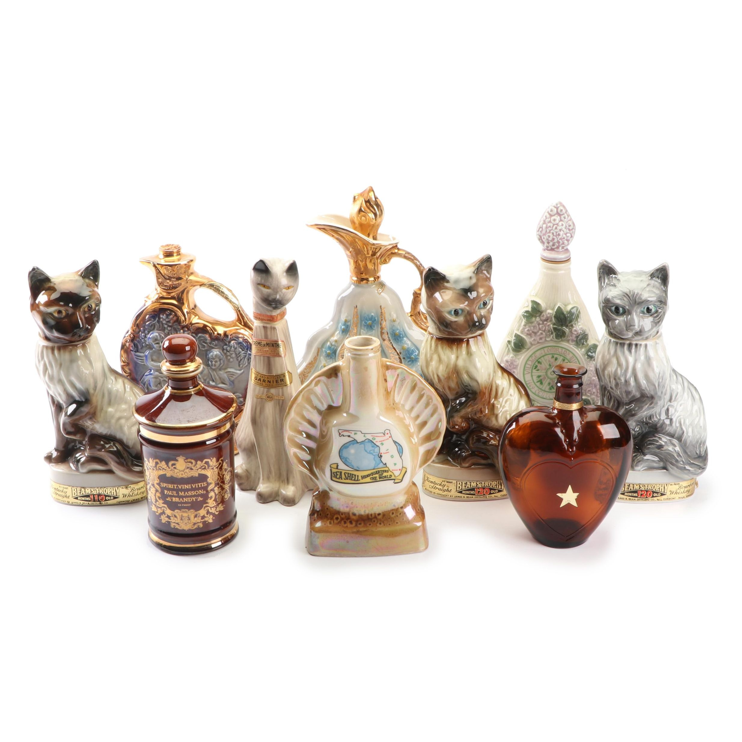 Collection of Ceramic and Glass Figural Decanters by Jim Beam and More