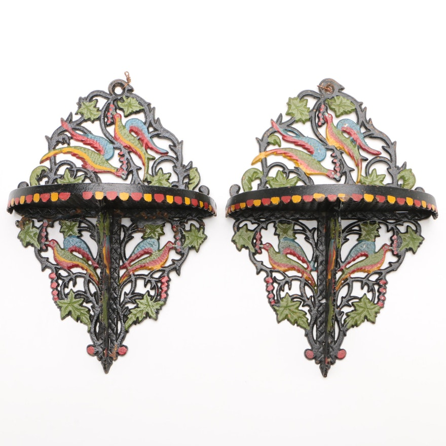Pair of Polychromed Cast Iron Hanging Shelves with Parrot Motif