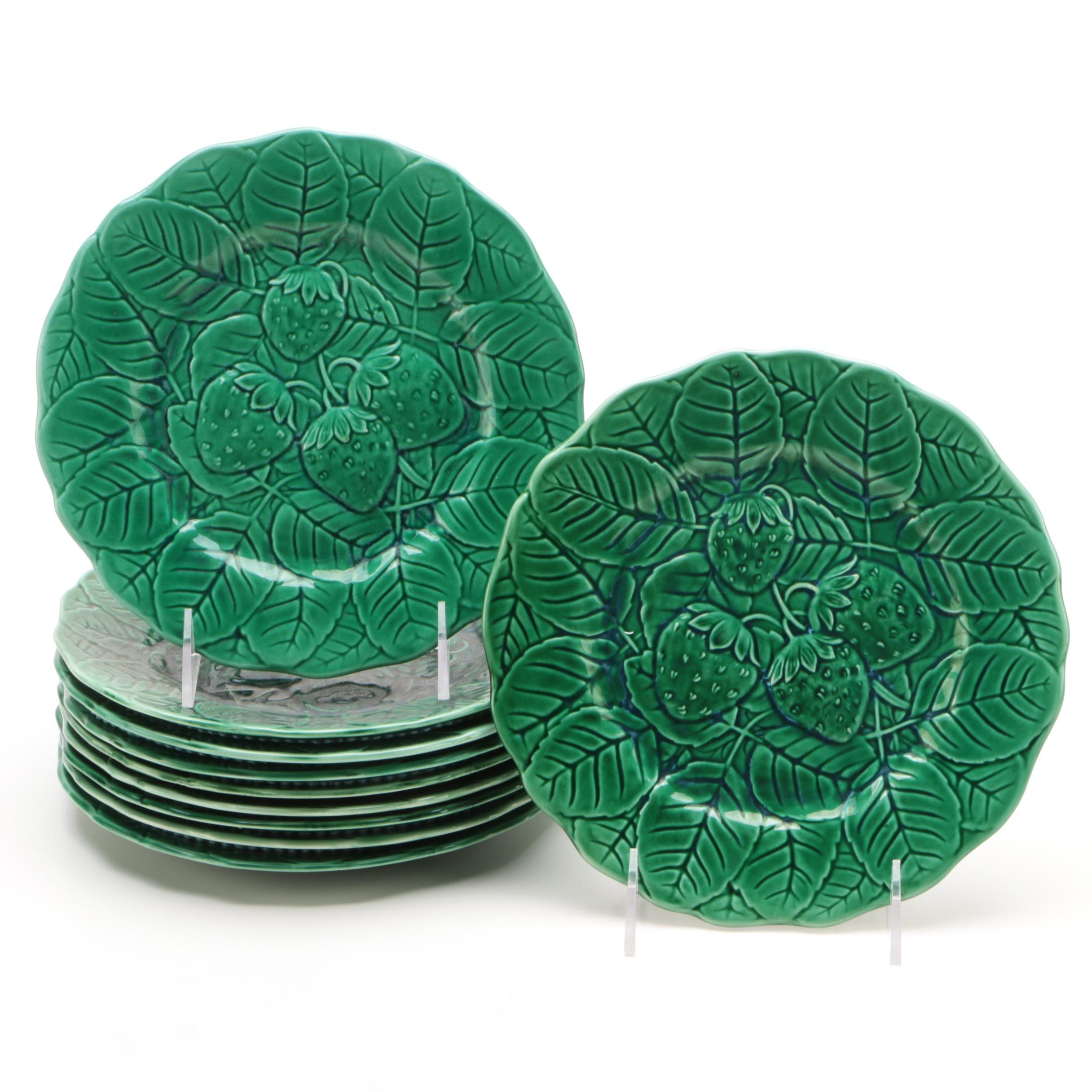 Spanish Fondeville Green Majolica Salad Plates with Strawberry Motif