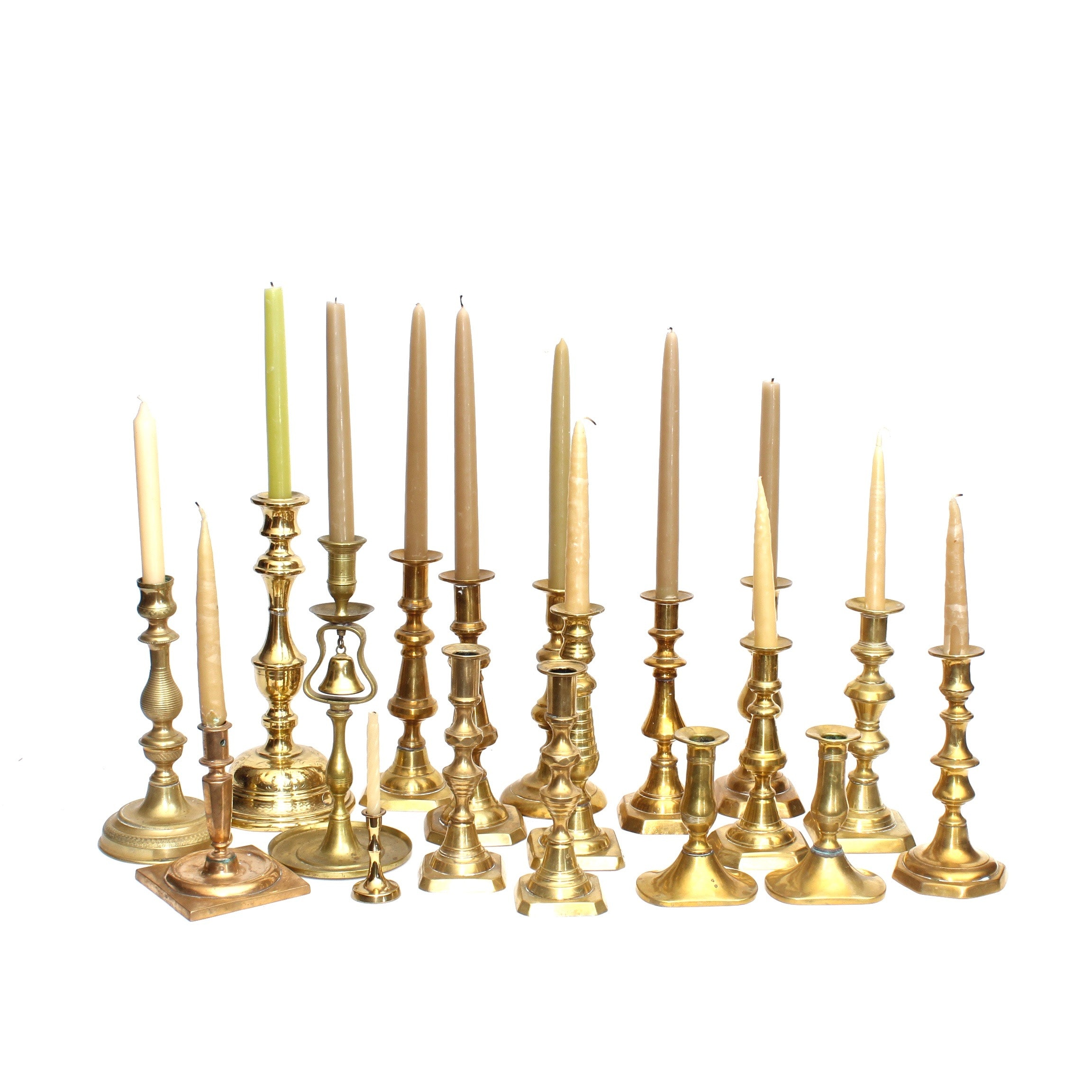 English and Other Brass Push Up and Etched Candlesticks
