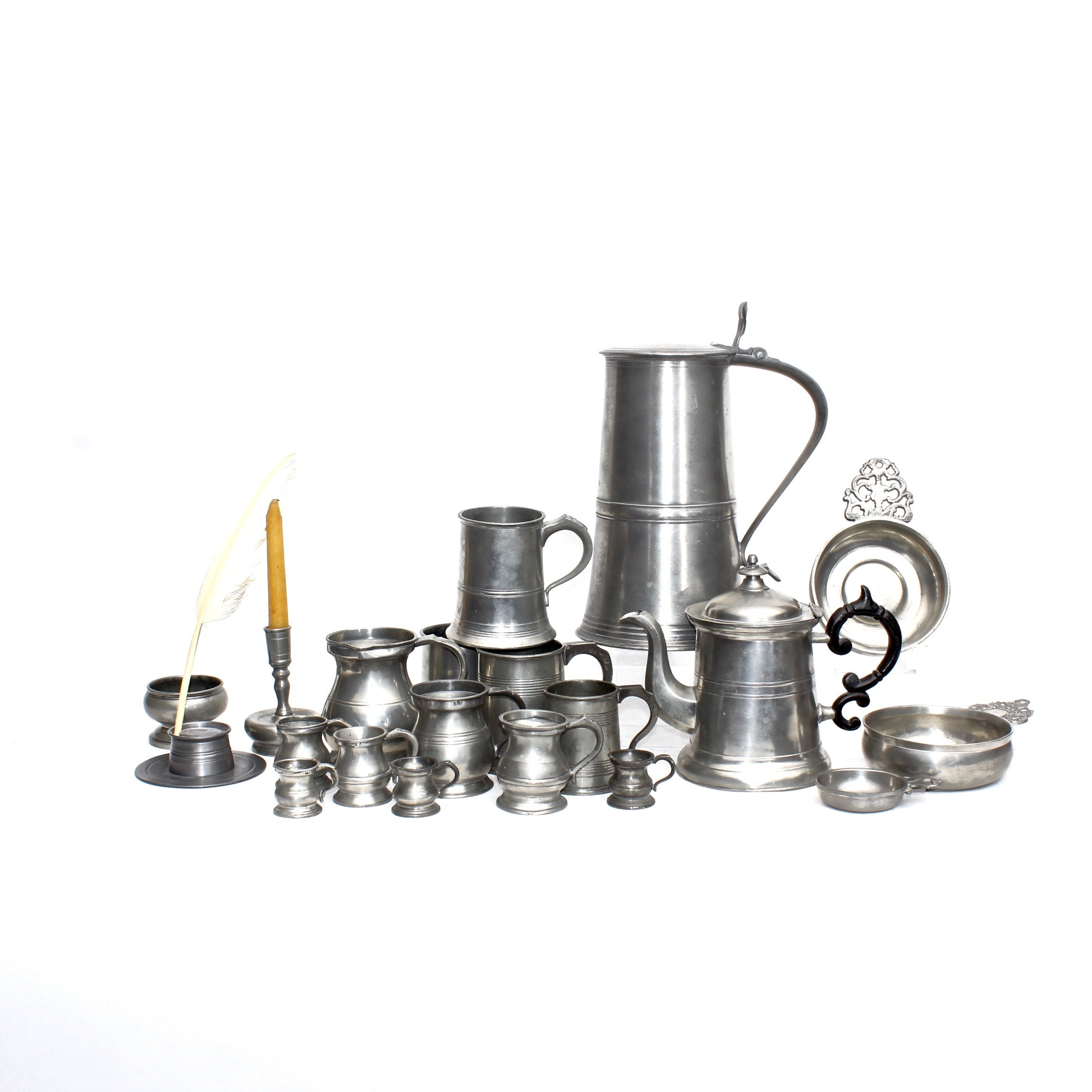 Pewter Mugs, Tableware and Inkwell with Quill, Antique