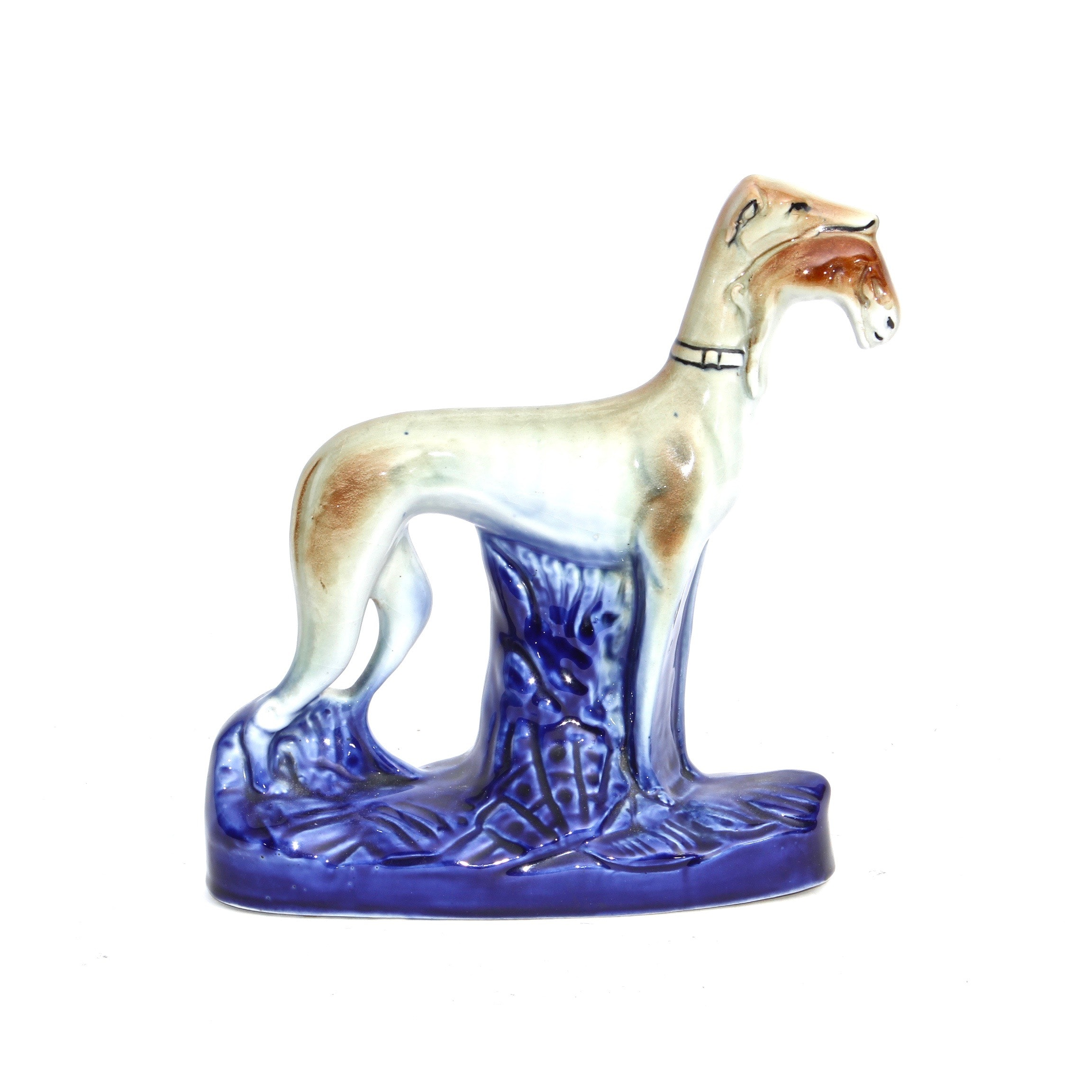 Staffordshire Style Ceramic Greyhound with Kill Figurine, Mid-Century