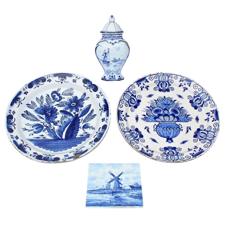 Delft Porcelain Tableware and Tile, Vintage