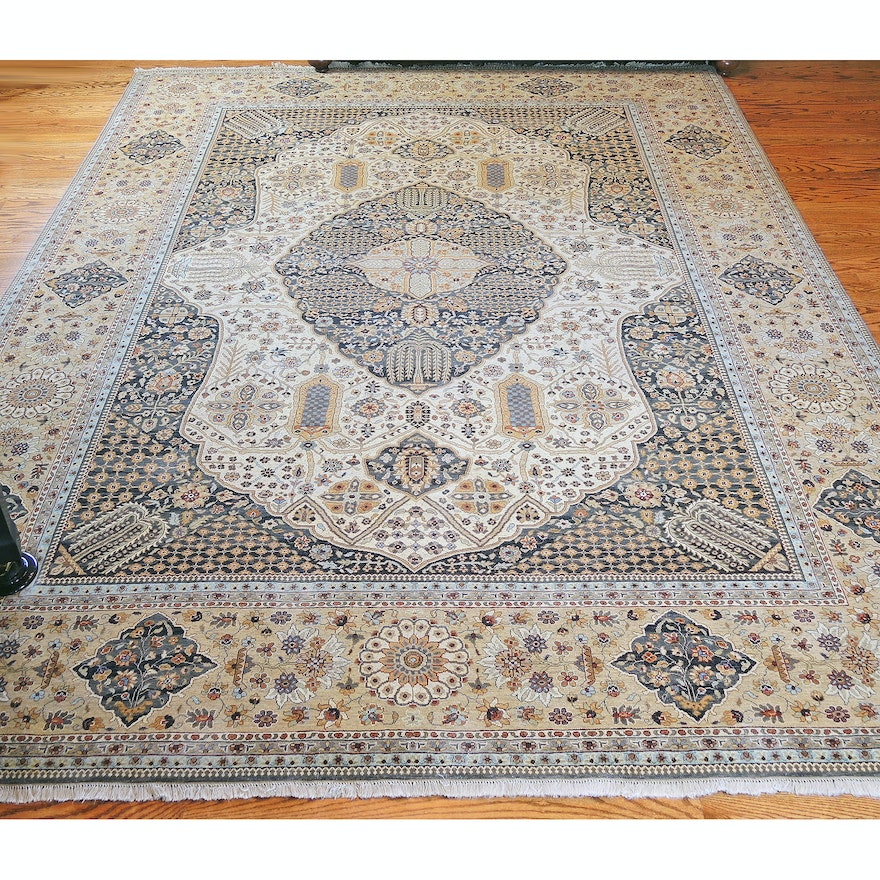 Hand-Knotted Indian Wool Room Sized Rug from The Rug Gallery