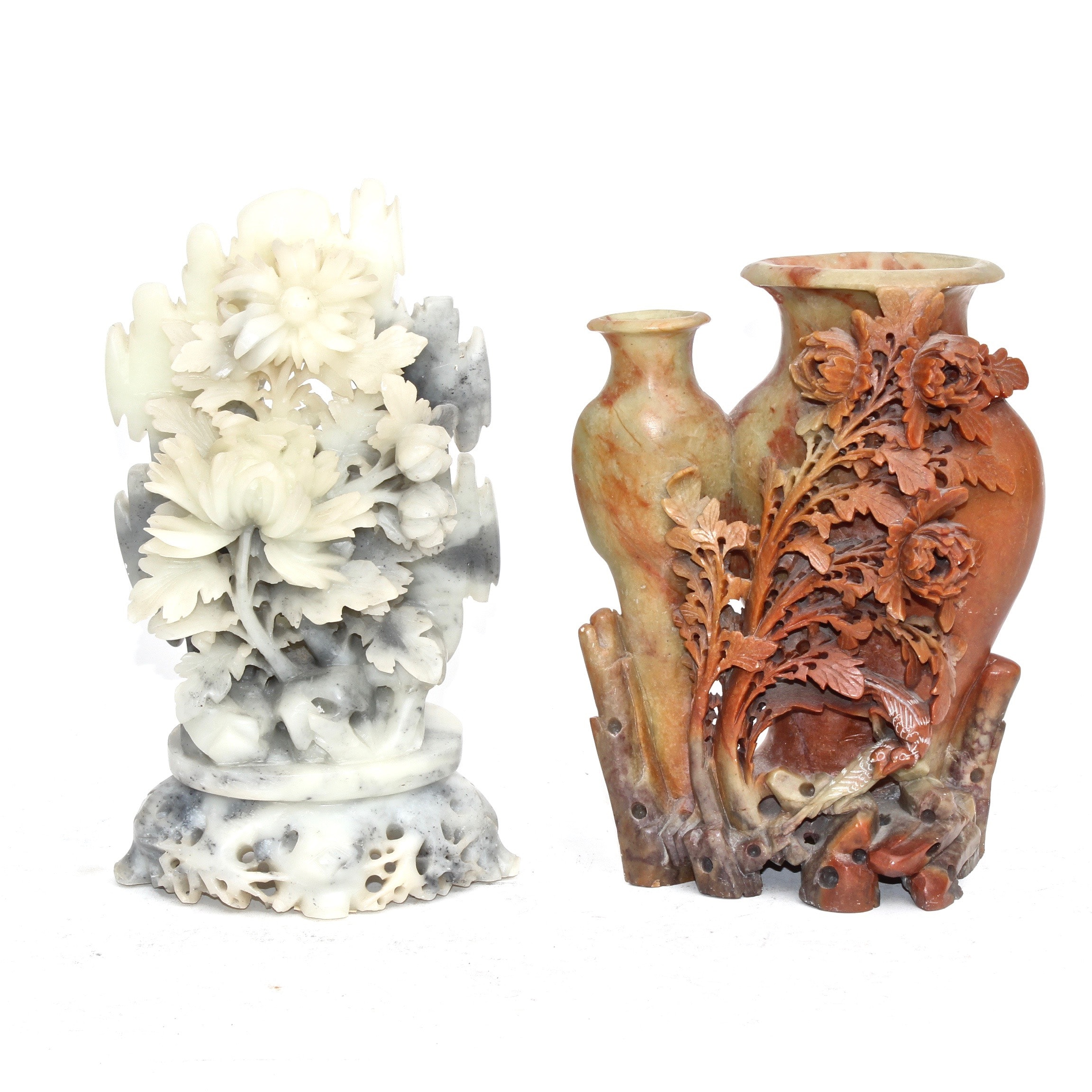Chinese Carved Soapstone Floral Vase Sculptures