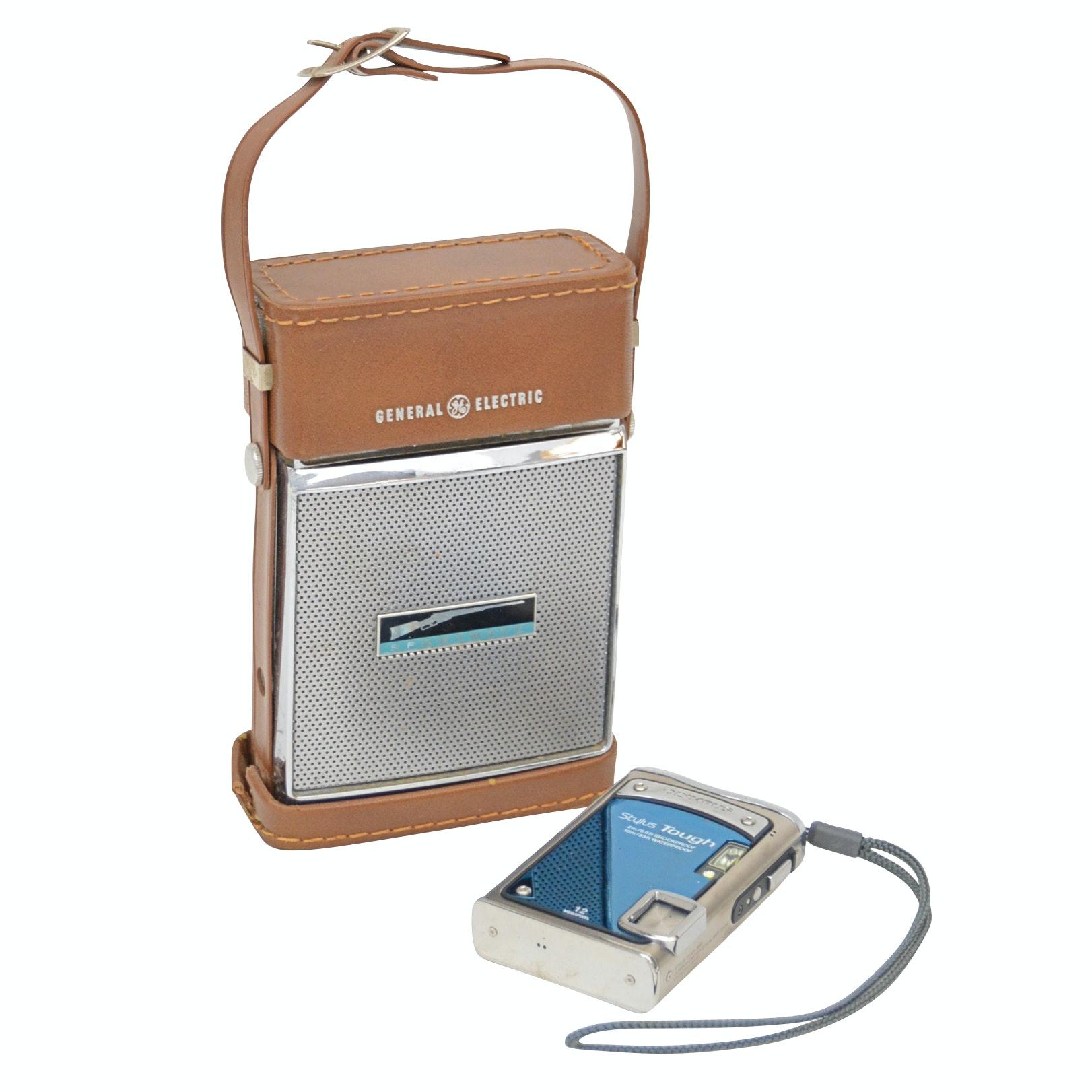 Vintage GE Sportmate Portable Radio+Olympus Stylus Tough 12 MP Digital Camera
