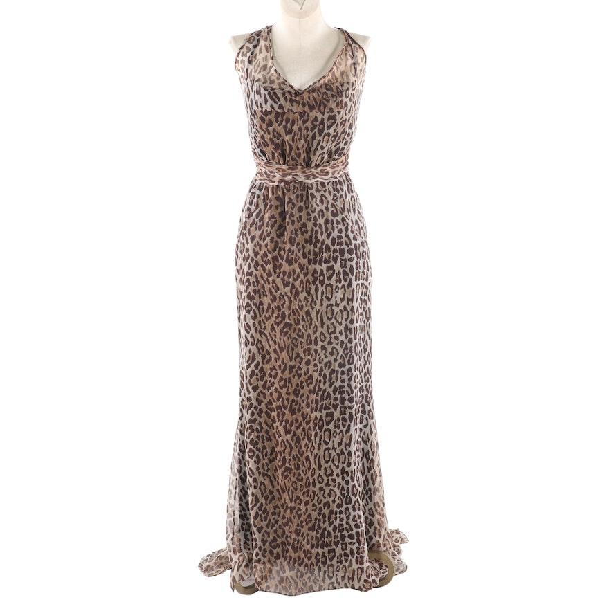 Dolce & Gabbana Silk Chiffon Leopard Print Sleeveless Gown with Fishtail Train