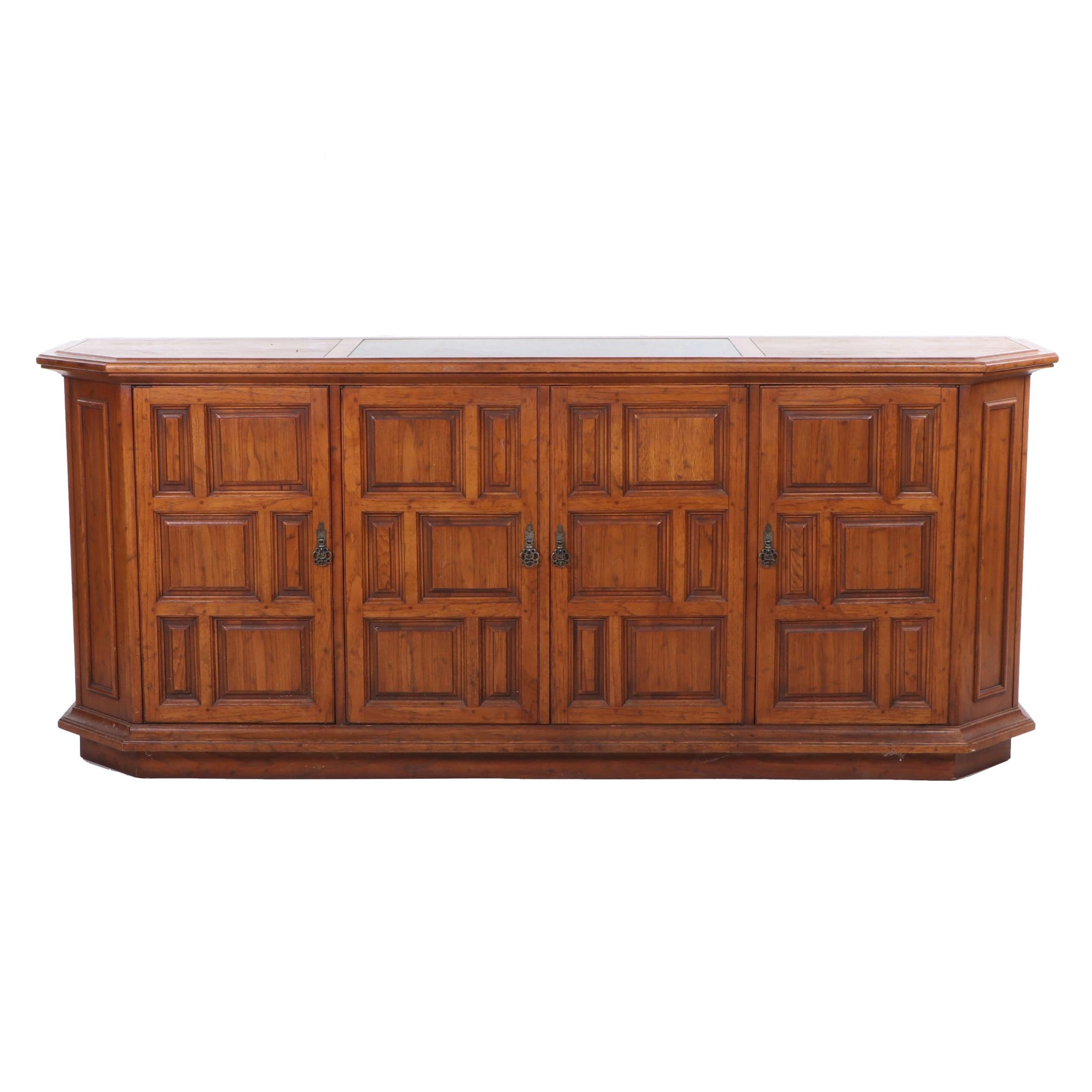 Stone Top Paneled Oak Sideboard, Circa 1980