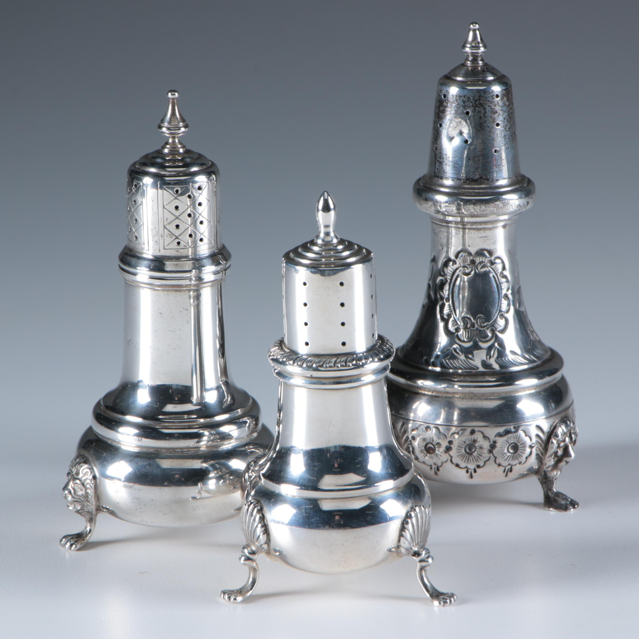 Amston, Baldwin & Miller, and Revere Silversmiths Sterling Shakers