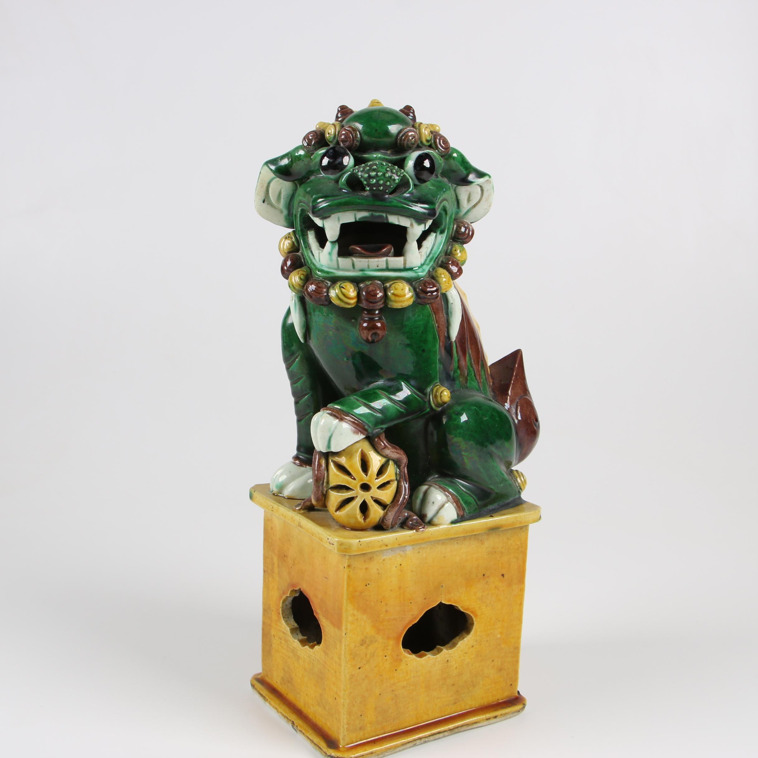 Chinese Sancai Glazed Male Guardian Lion, Late 20th Century