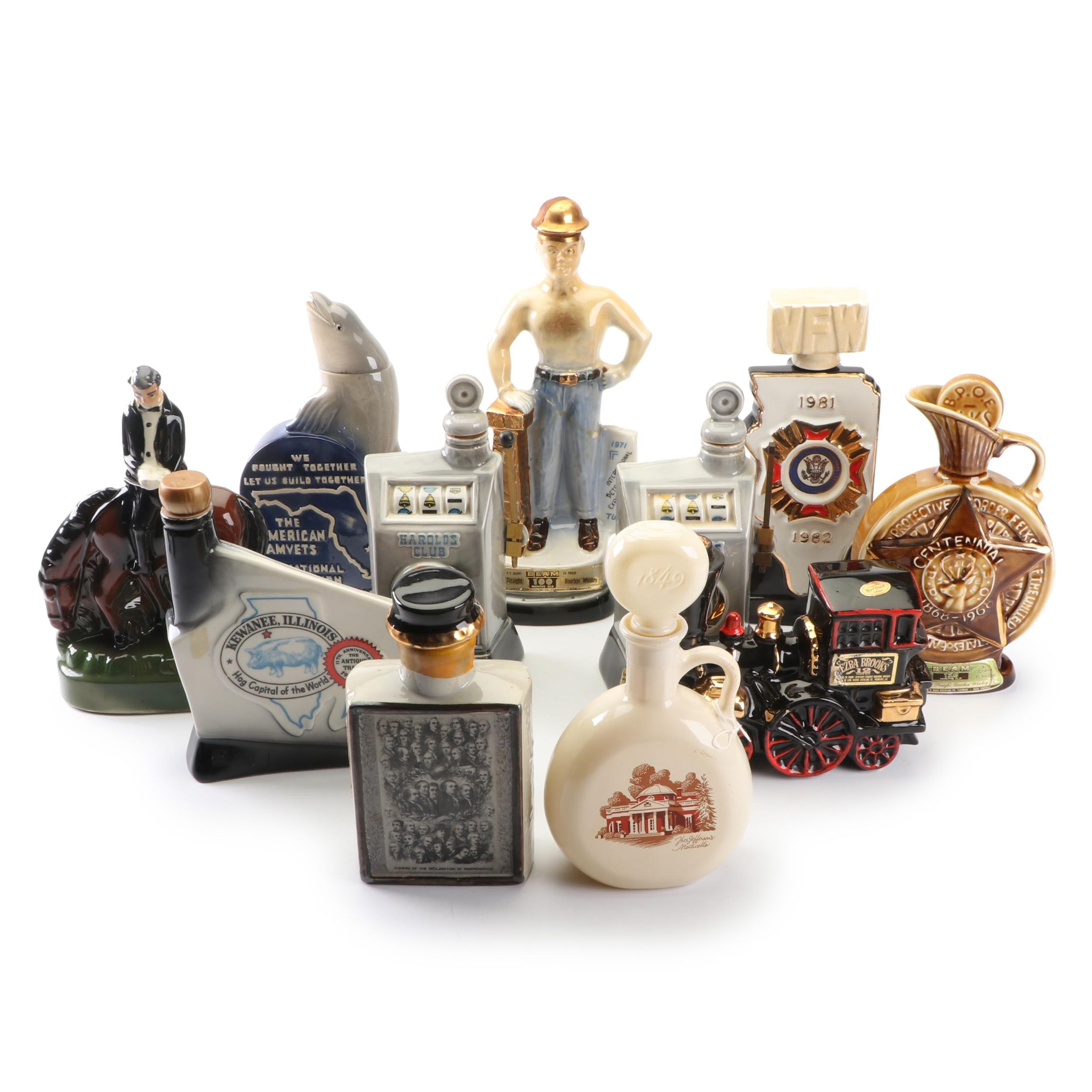 Novelty Decanters Featuring World War II Dolphin, Ezra Brooks Train and More
