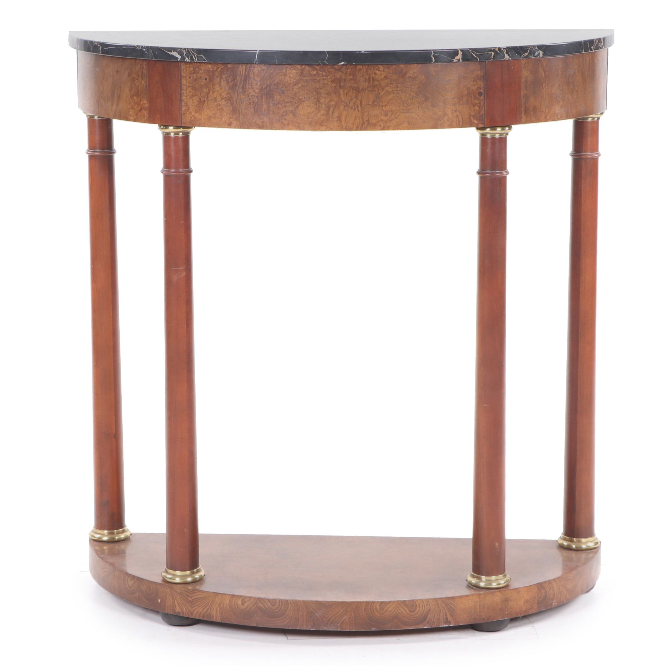 Baker French Empire Style Wooden Demi-Lune Marble Top Accent Table, 20th Century
