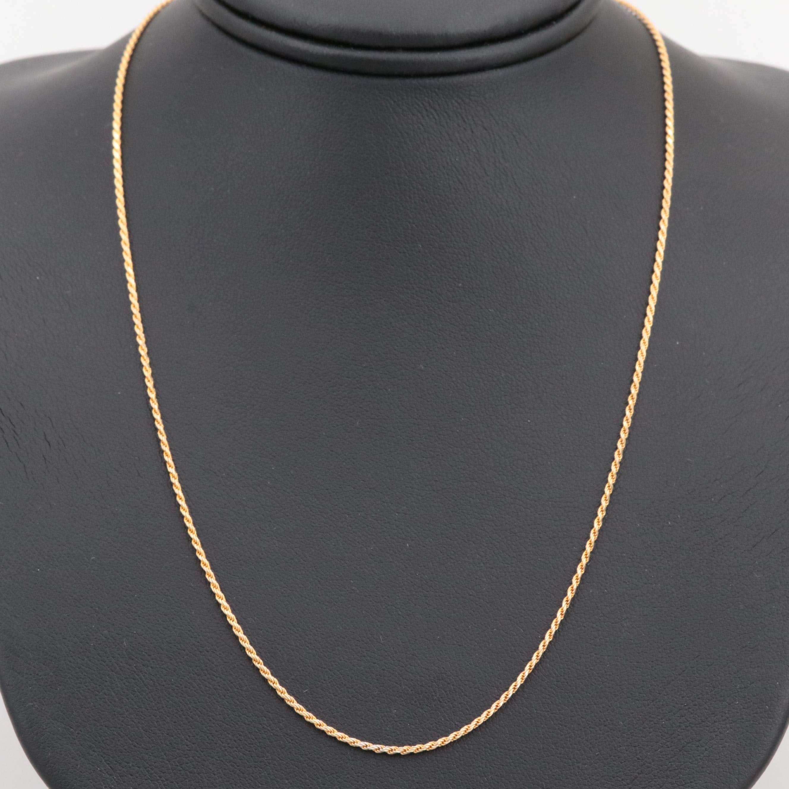 Gold Wash on Sterling Silver Rope Twist Necklace