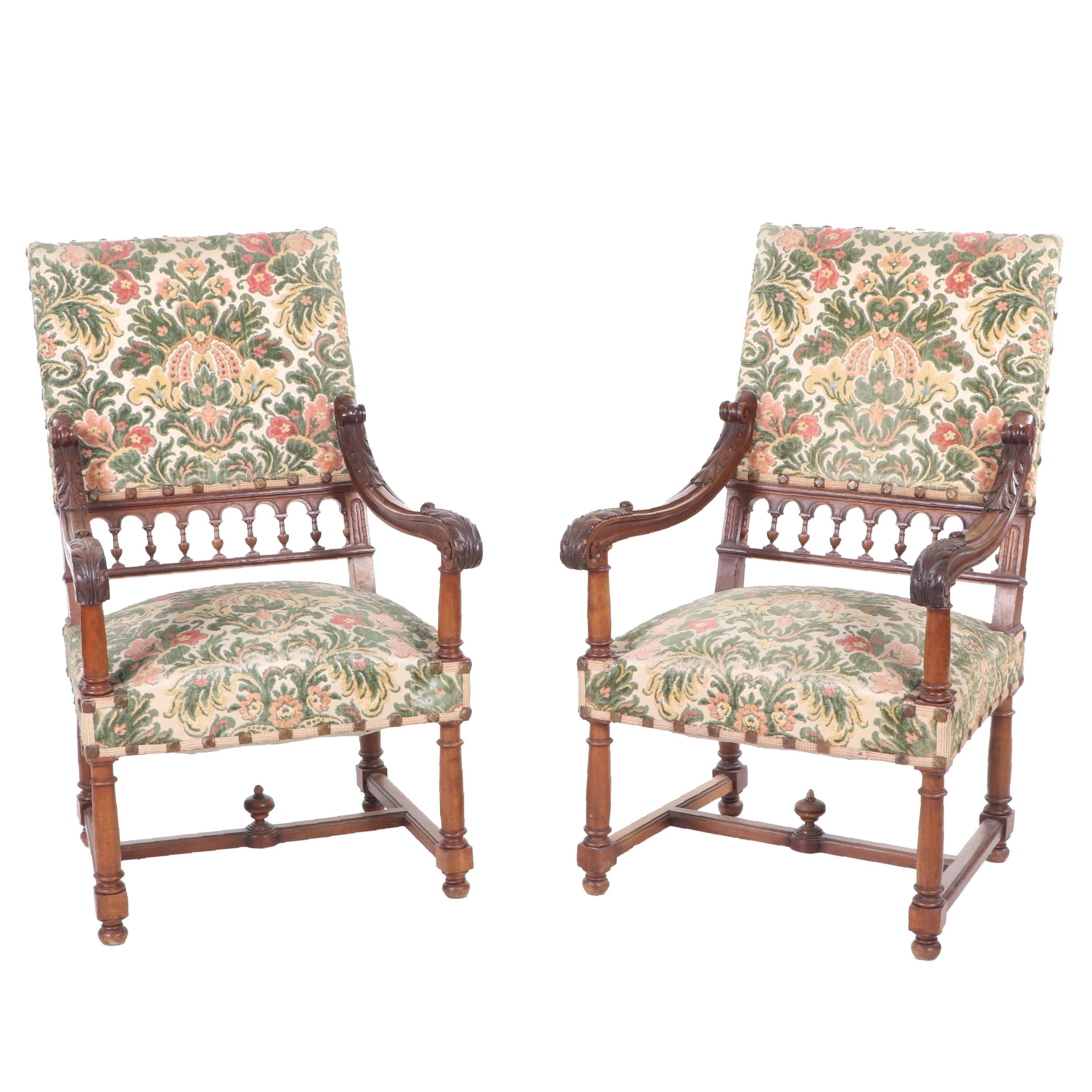 Mahogany Upholstered High-Back Armchairs, Mid to Late 19th Century, Pair