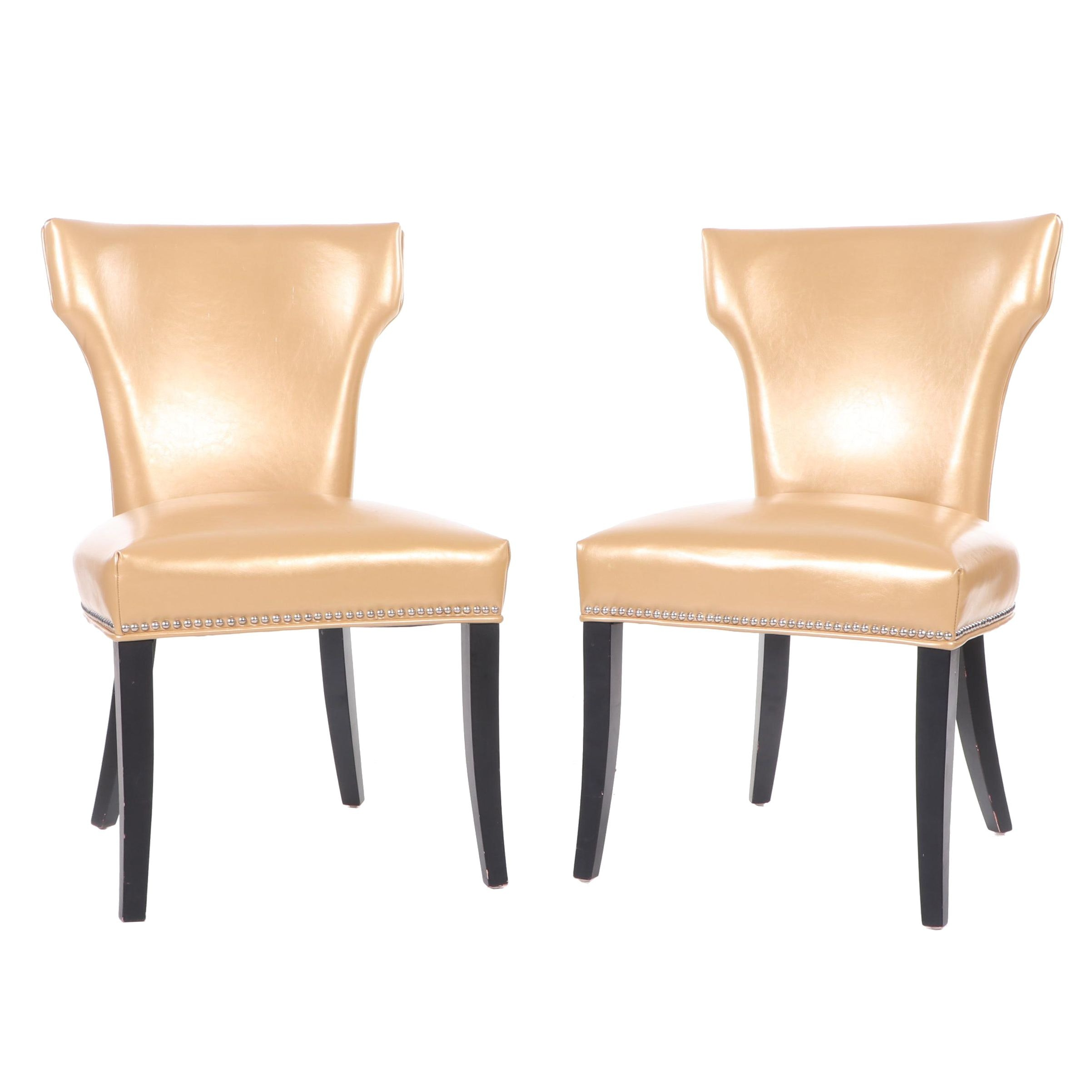 Pair of Contemporary Upholstered Side Chairs with Nailhead Trim