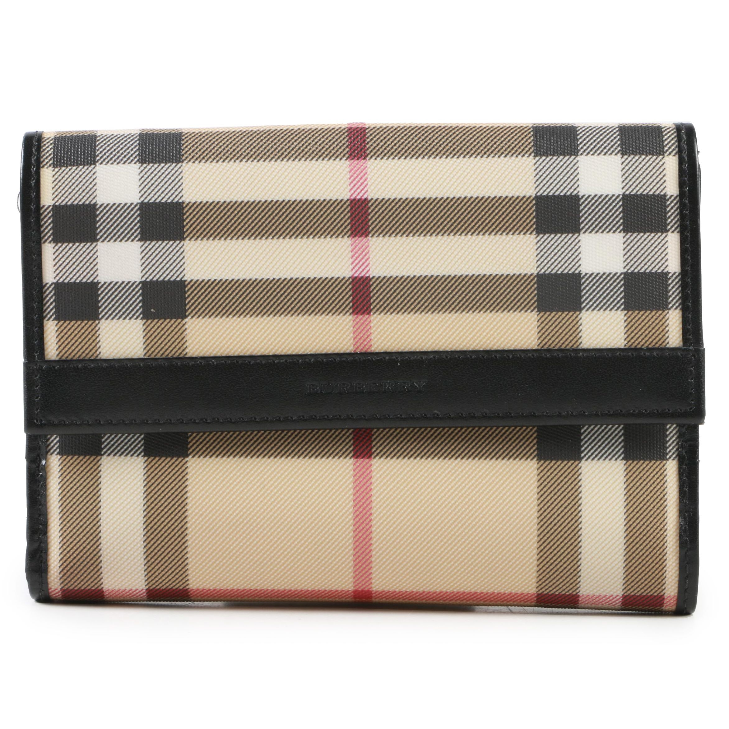 Burberry London Plaid Coated Canvas and Black Leather Bifold Wallet