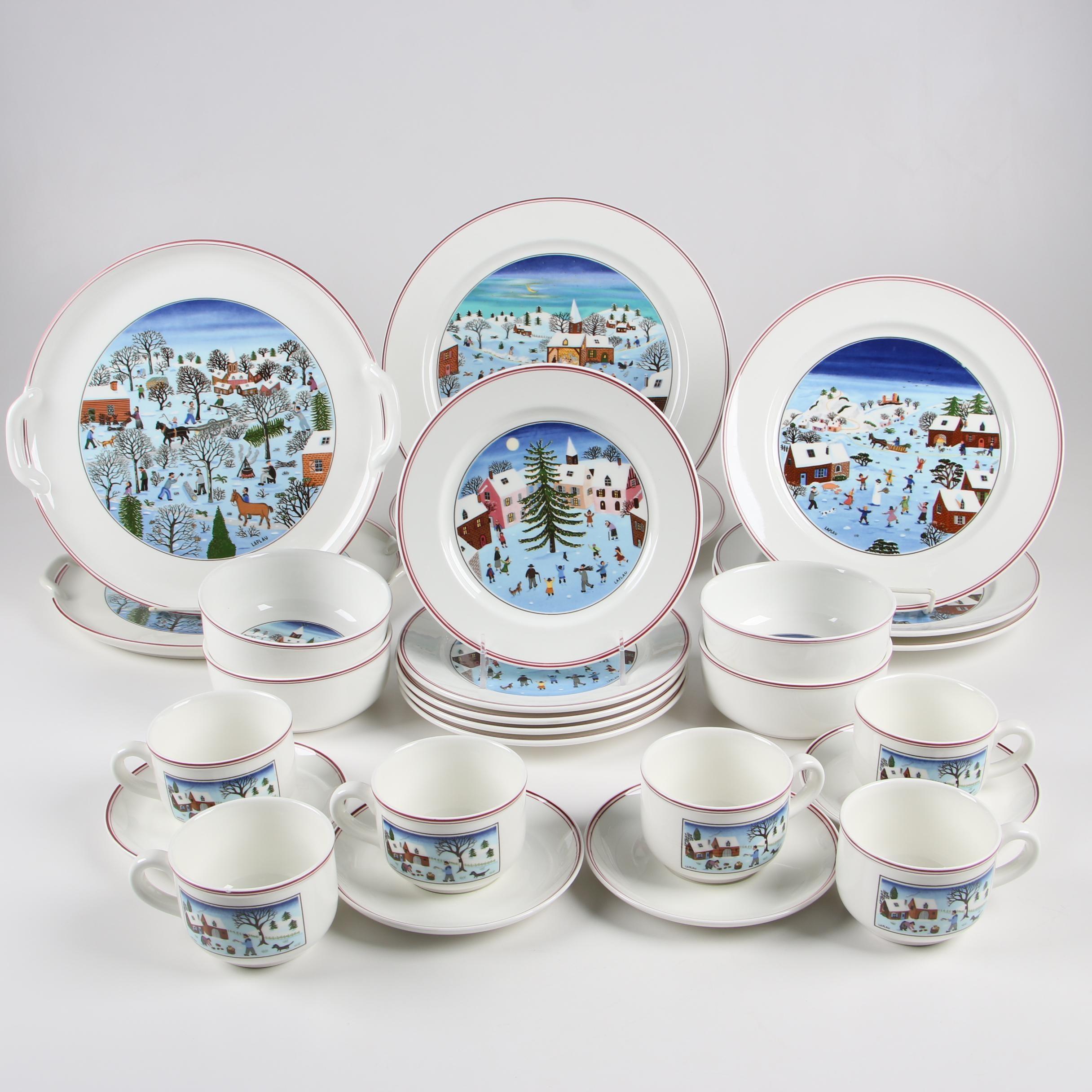 "Villeroy & Boch ""Naïf Christmas"" Porcelain Dinnerware, Late 20th Century"
