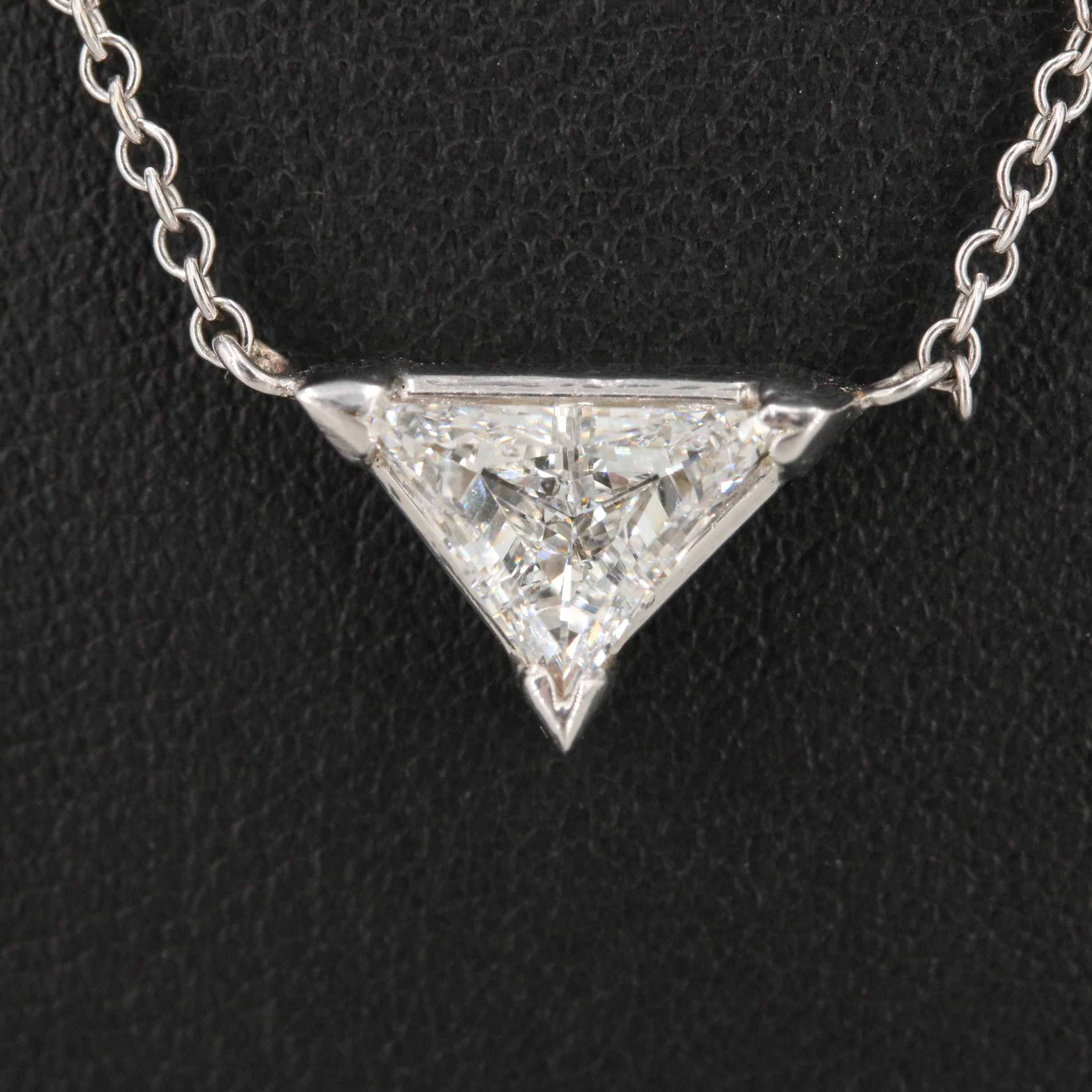 14K White Gold 1.80 CTW Diamond Station Necklace with GIA Report