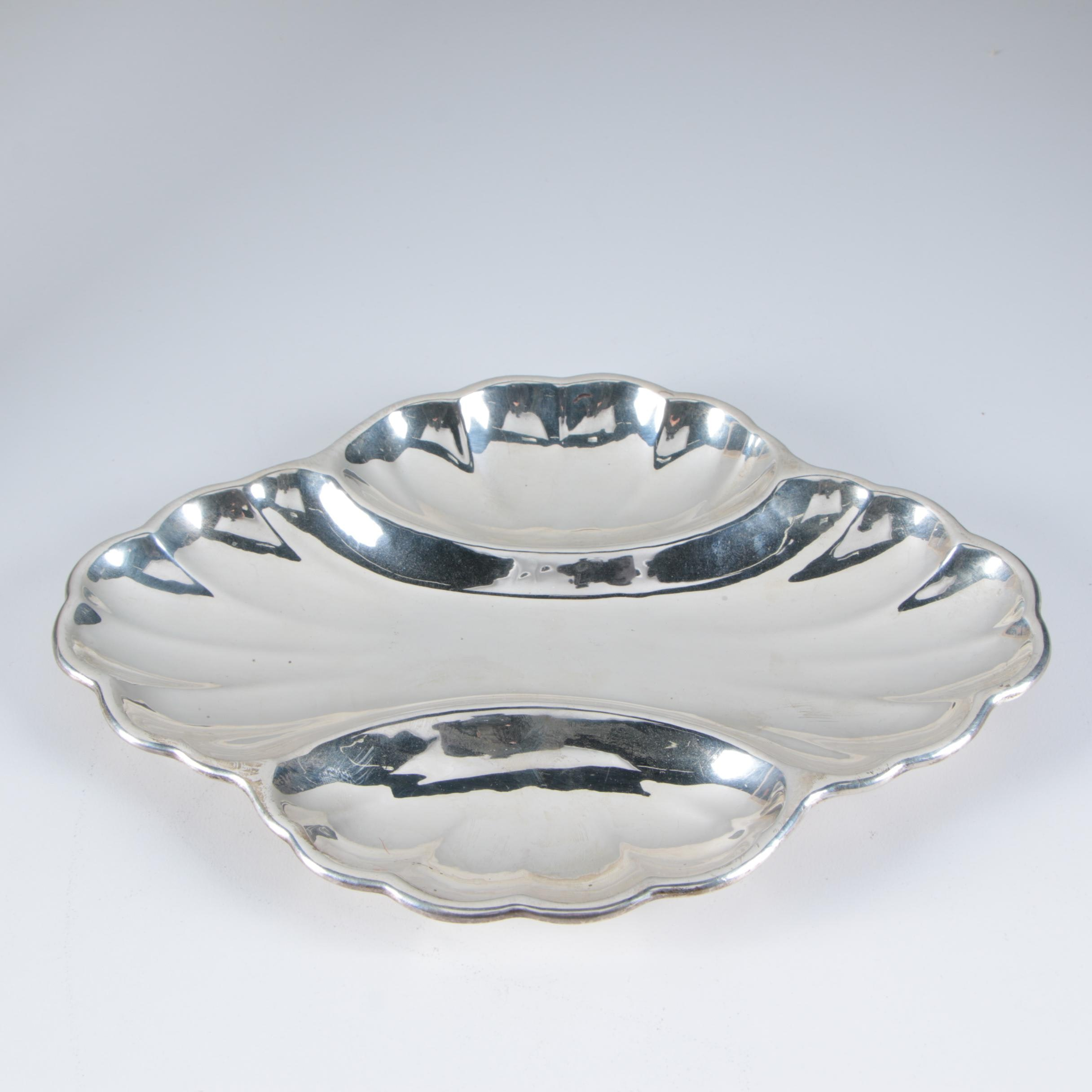 """Hand-W-Craft"" Sterling Silver Fluted Lobed Relish Dish"