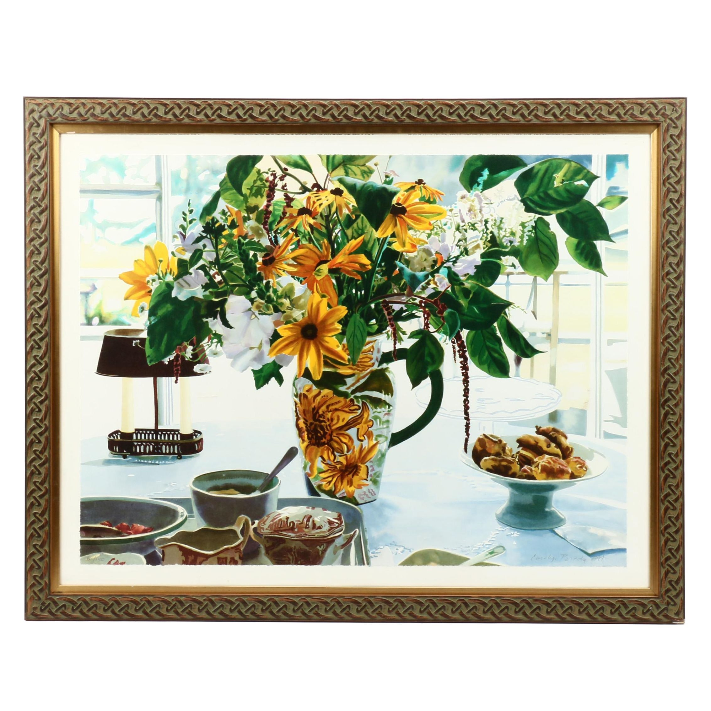 "Carolyn Brady Color Lithograph ""August Breakfast/Maine"""